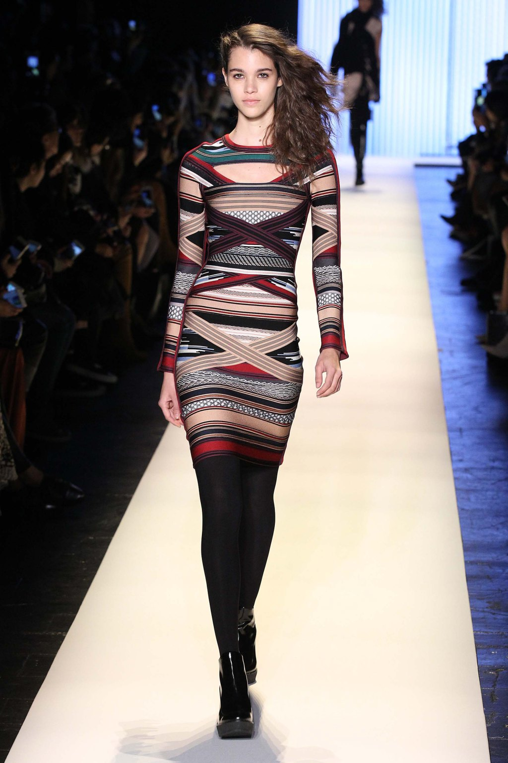 NYFW Hervé Léger Fashion Show Fall:Winter 2016 Louboutins & Love Fashion Blog Esther Santer NYC Street Style Models Collection Hair Makeup Bandage Dresses Pretty Trends Fringe Pink White Inspo Press Event Coverage Details Photos Hair Jacket  Outfit .jpg