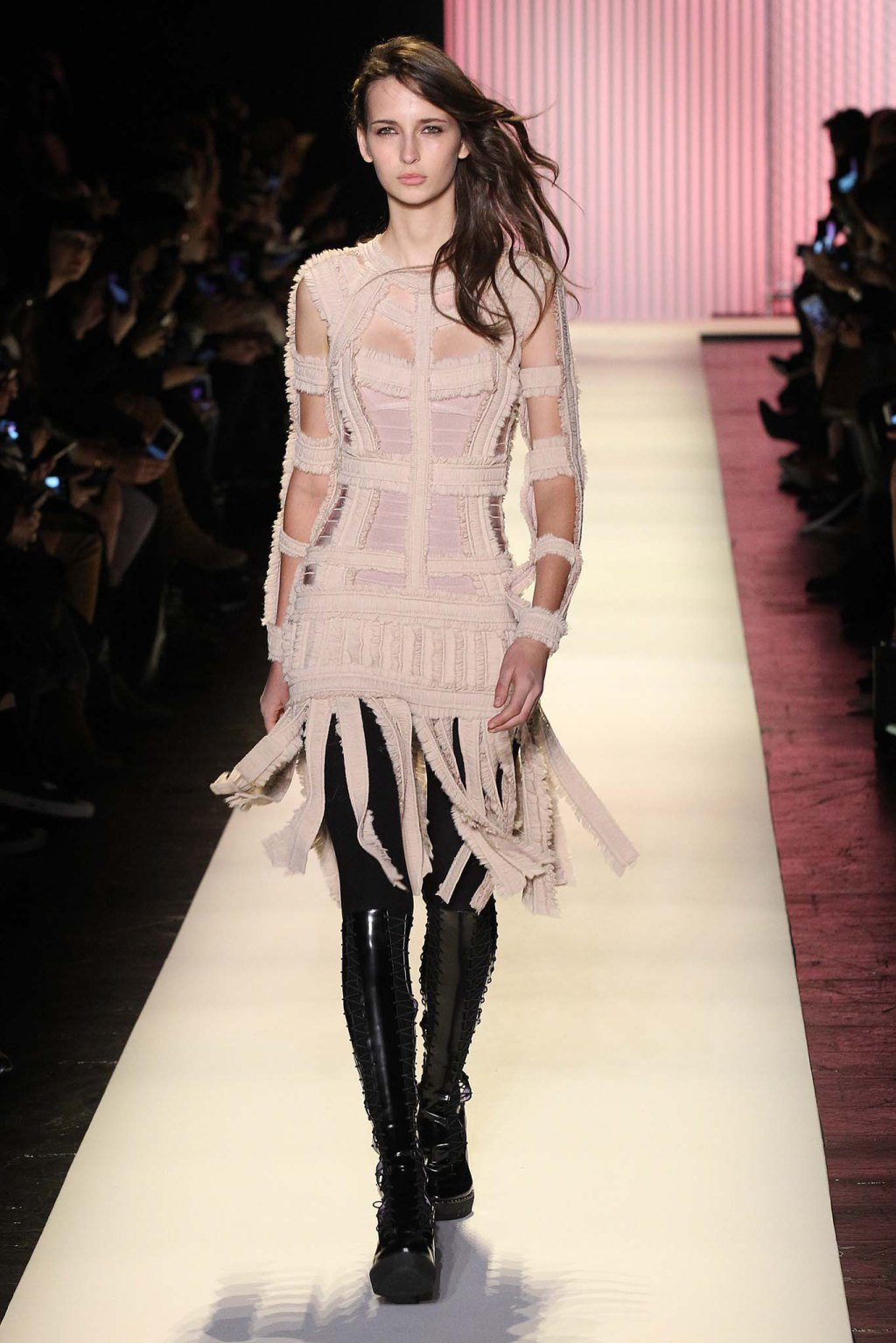 NYFW Hervé Léger Fashion Show Fall:Winter 2016 Louboutins & Love Fashion Blog Esther Santer NYC Street Style Models Collection Hair Makeup Bandage Dresses Pretty Trends Fringe Pink White Inspo Press Event Coverage Photos Details Jacket Hair Outfit .jpg