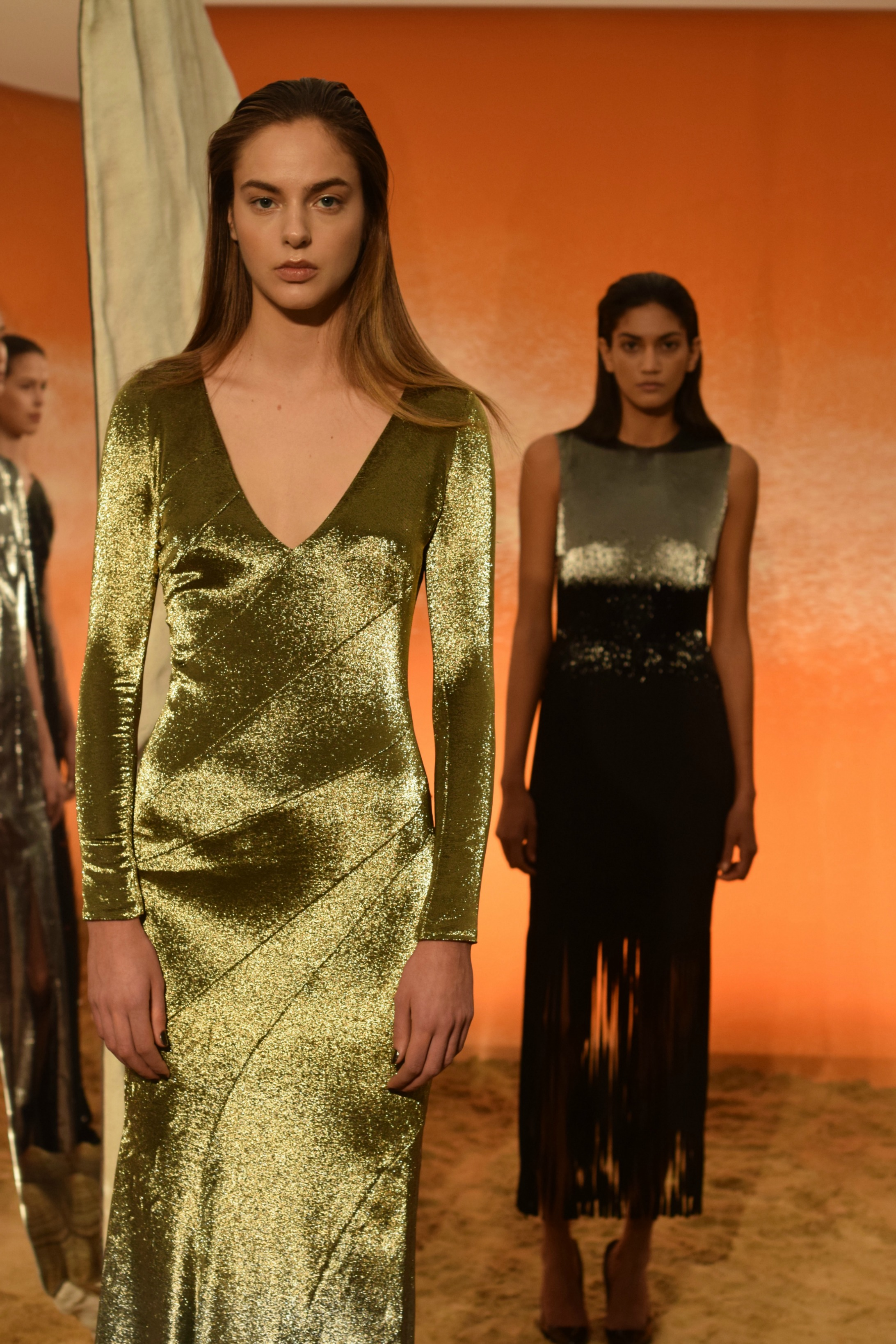 NYFW Mathieu Mirano Fashion Presentation Fall:Winter 2016 Louboutins & Love Fashion Blog Esther Santer NYC Street Style Models Collection Hair Makeup Dress Pretty Fringe Trends Green Gown Gold Metallic Silver Inspo Press Event Coverage Details Photos.jpg