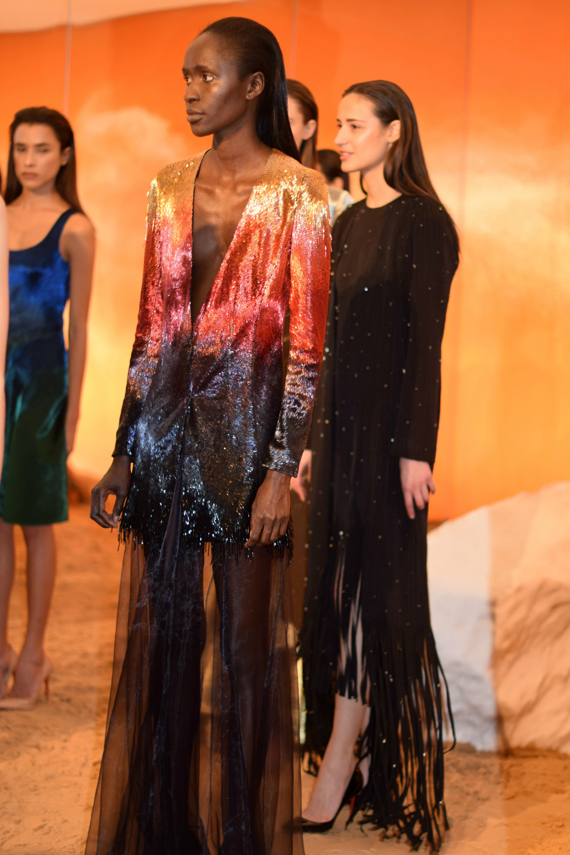 NYFW Mathieu Mirano Fashion Presentation Fall:Winter 2016 Louboutins & Love Fashion Blog Esther Santer NYC Street Style Models Collection Hair Makeup Dress Pretty Fringe TrendsGreen Gown Metallic Gold Silver Inspo Press Event Coverage Details Photos.jpg