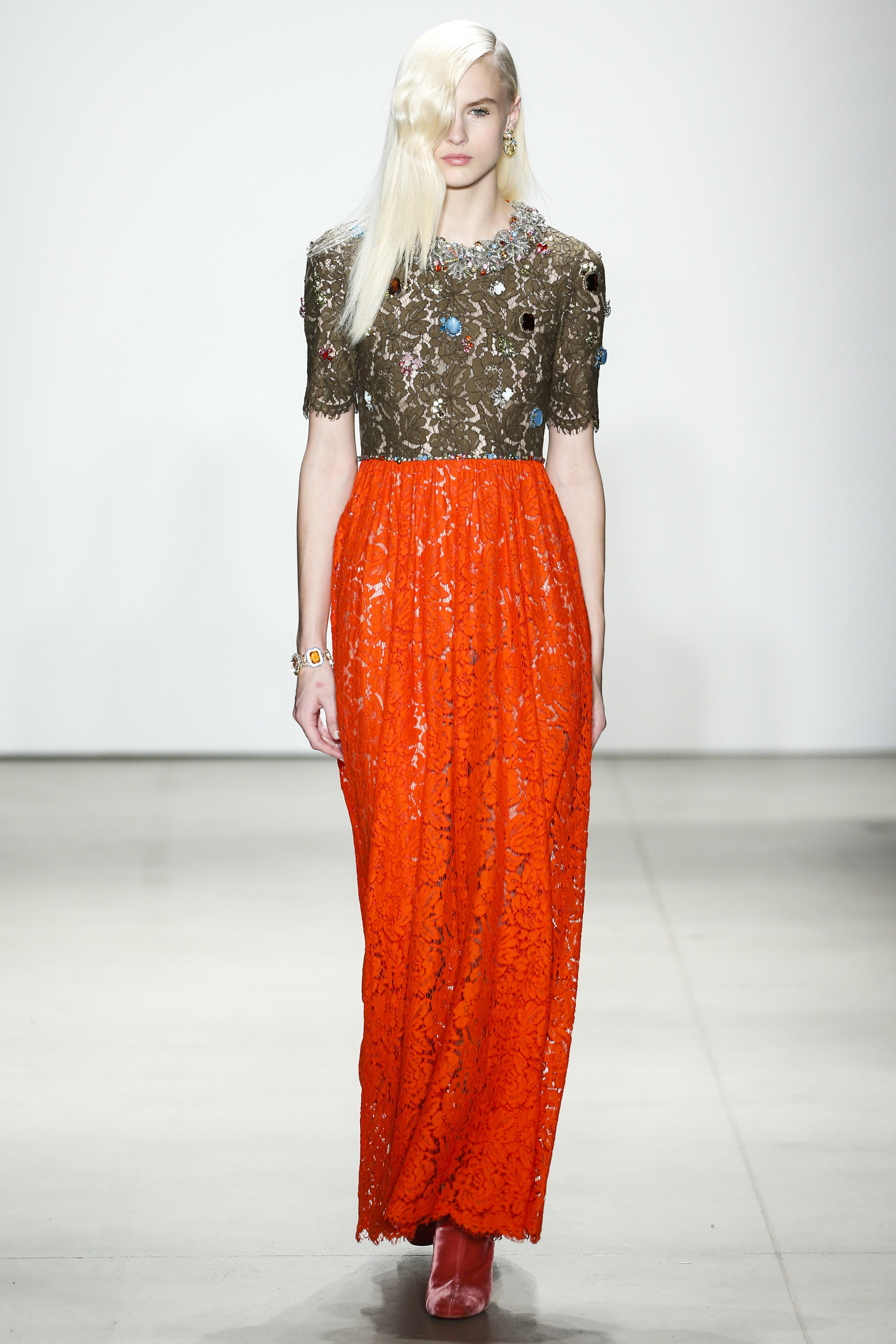 NYFW Jenny Packham Fashion Show Fall:Winter 2016 Louboutins & Love Fashion Blog Esther Santer NYC Street Style Models Collection Hair Makeup Dress Sequins Trend Gown Metallic Gold Beautiful Pretty Pink Color Red Yellow Floral Sheer Front Slit Skirt.jpg