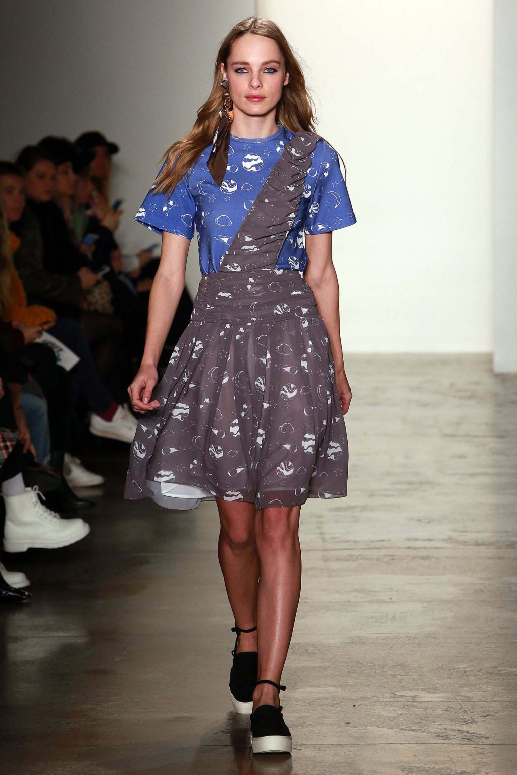 NYFW Anna K Fashion Show Fall Winter 2016 Louboutins & Love Fashion Blog Esther Santer NYC Street Style Models Collection Hair Makeup Dress Trendy Pretty Pattern Print Spaceship Fun Sneakers Red Blue Yellow Colorful Skirt Shoes Plaid Scarf Coat Outfit.jpg