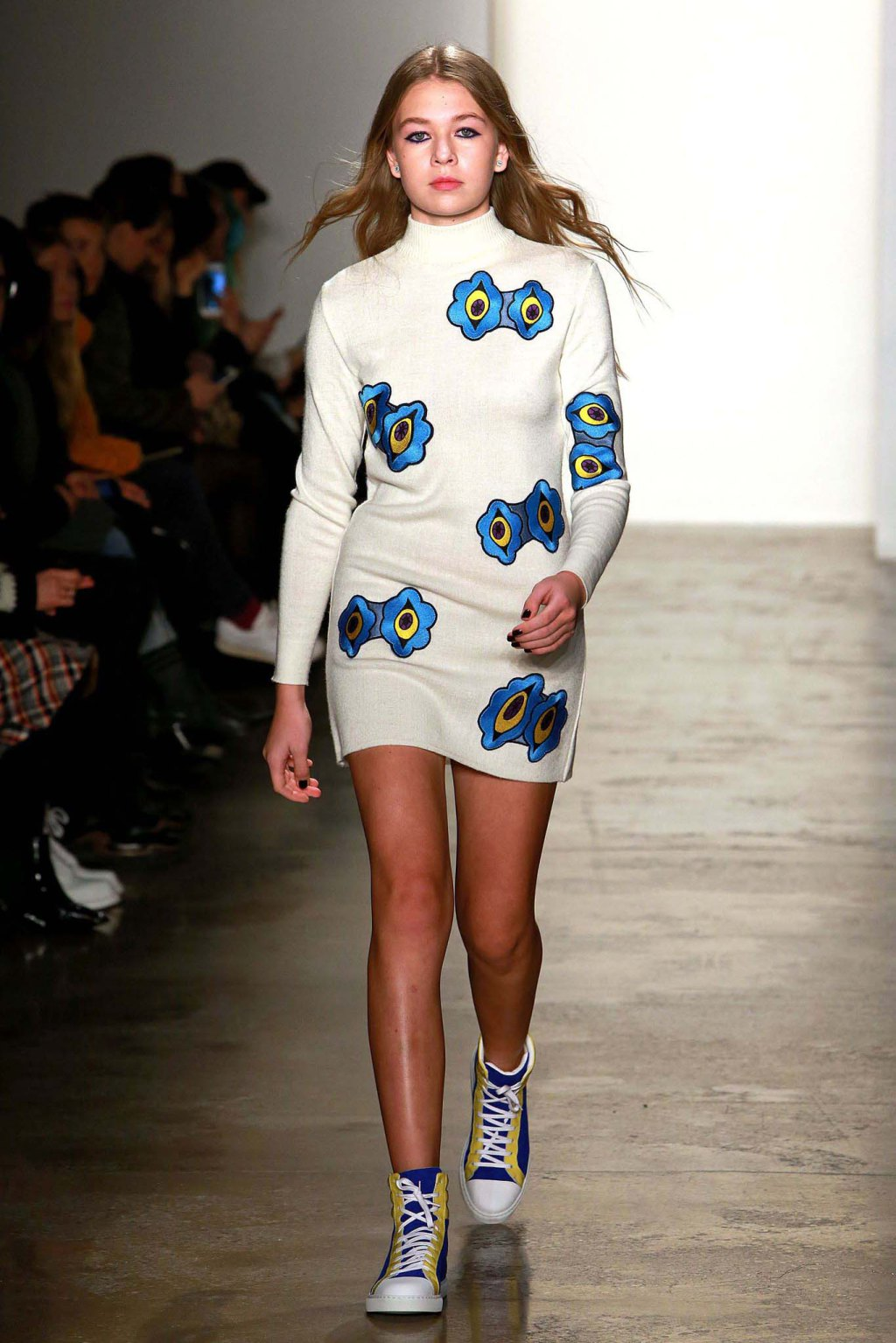 NYFW Anna K Fashion Show Fall Winter 2016 Louboutins & Love Fashion Blog Esther Santer NYC Street Style Models Collection Hair Makeup Dress Trendy Pretty Pattern Print Spaceship Fun Sneakers Red Yellow Blue Colorful Skirt Shoes Plaid Scarf Coat Outfit.jpg