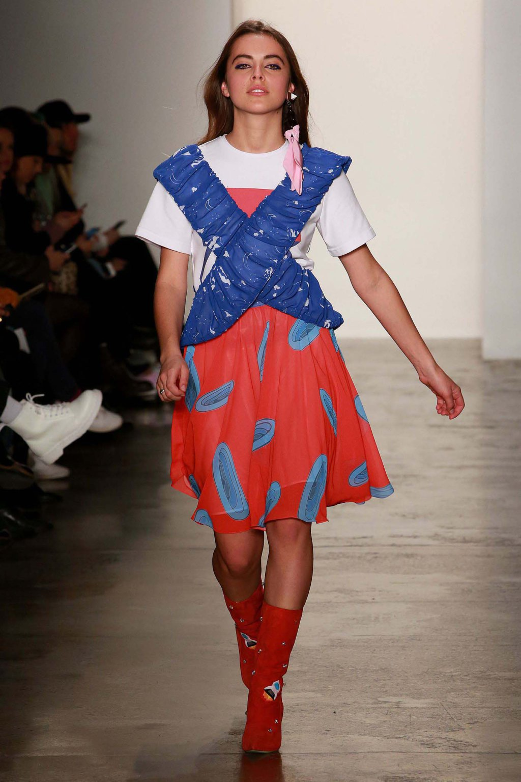 NYFW Anna K Fashion Show Fall Winter 2016 Louboutins & Love Fashion Blog Esther Santer NYC Street Style Models Collection Hair Makeup Dress Trendy Pretty Pattern Print Spaceship Fun Sneakers Shoes Blue Red Yellow Colorful Skirt Plaid Scarf Coat Outfit.jpg