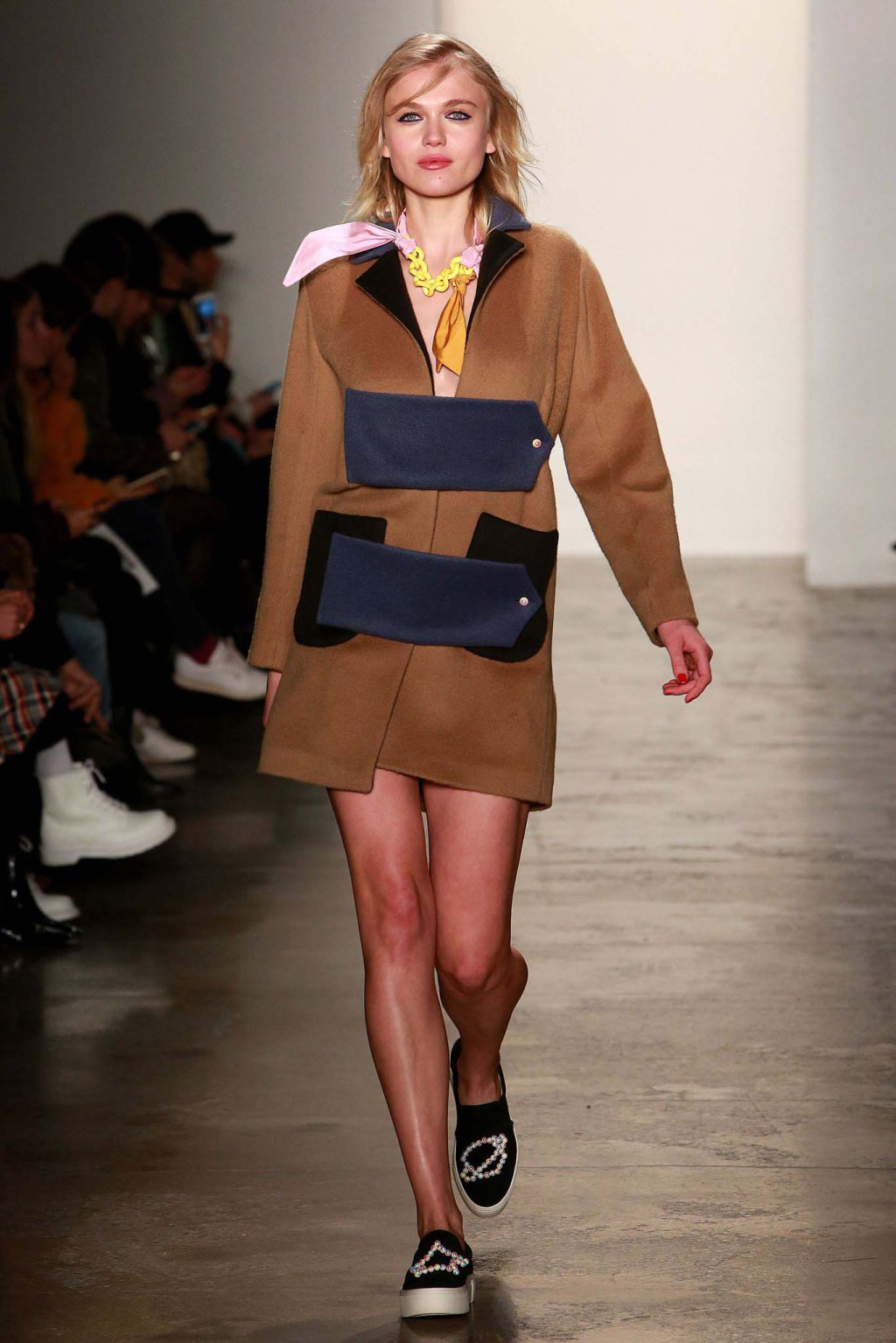 NYFW Anna K Fashion Show Fall Winter 2016 Louboutins & Love Fashion Blog Esther Santer NYC Street Style Models Collection Hair Makeup Dress Trendy Pretty Pattern Print Spaceship Fun Sneakers Shoes Blue Red Yellow Skirt Colorful Plaid Coat Scarf Planet.jpg