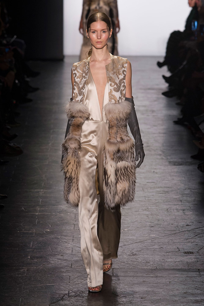NYFW Dennis Basso Fashion Show Fall:Winter 2016 Louboutins & Love Fashion Blog Esther Santer NYC Street Style Models Collection Hair Makeup Dress Trendy Gown Pretty Runway Outfit Fur Stole Embellished Jewels Vest Metallic Jumpsuit Black Gold Coat Glam.jpg
