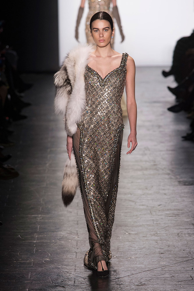 NYFW Dennis Basso Fashion Show Fall:Winter 2016 Louboutins & Love Fashion Blog Esther Santer NYC Street Style Models Collection Hair Makeup Dress Trendy Gown Pretty Runway Outfit Fur Stole Jewels Embellished Jumpsuit Metallic Vest Coat Black Gold Glam.jpg