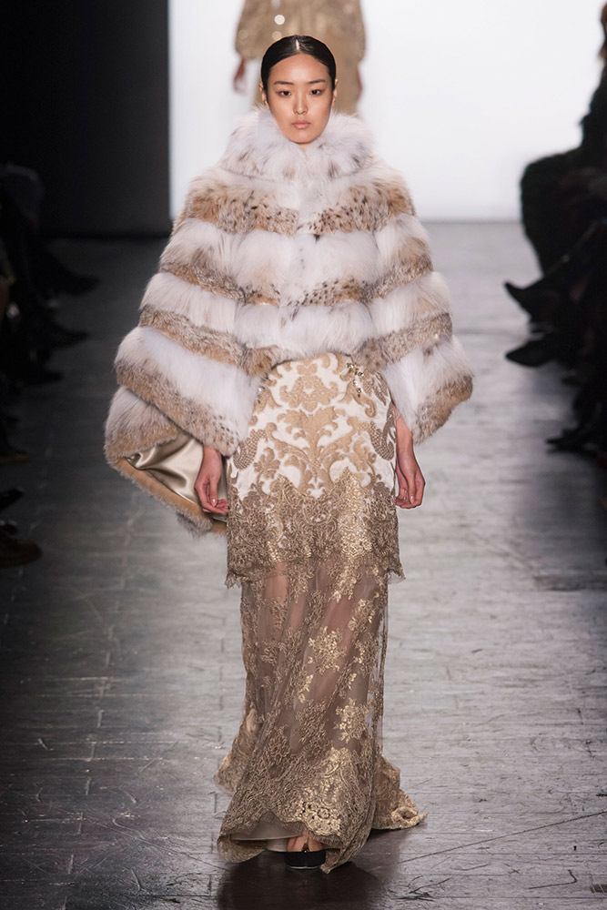 NYFW Dennis Basso Fashion Show Fall:Winter 2016 Louboutins & Love Fashion Blog Esther Santer NYC Street Style Models Collection Hair Makeup Dress Trendy Gown Pretty Runway Outfit Fur Stole Jewels Embellished Vest Metallic Jumpsuit Black Coat Gold Glam.jpg