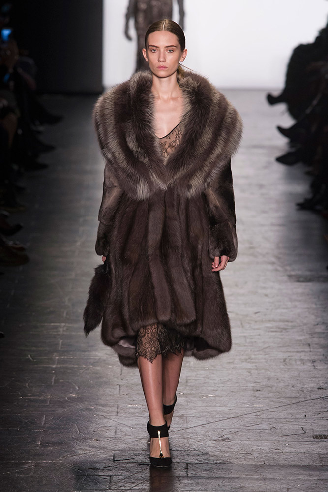 NYFW Dennis Basso Fashion Show Fall:Winter 2016 Louboutins & Love Fashion Blog Esther Santer NYC Street Style Models Collection Hair Makeup Dress Trendy Gown Pretty Runway Outfit Fur Stole Jewels Embellished Vest Metallic Jumpsuit Black Gold Coat Glam.jpg