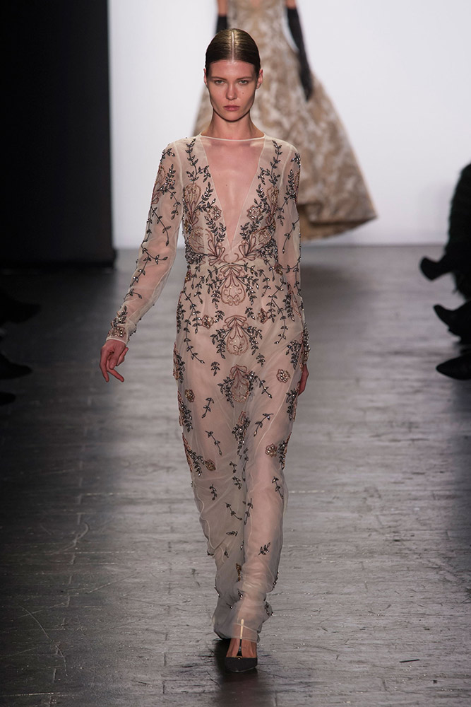 NYFW Dennis Basso Fashion Show Fall:Winter 2016 Louboutins & Love Fashion Blog Esther Santer NYC Street Style Models Collection Hair Makeup Dress Trendy Pretty Gown Runway Outfit Fur Stole Embellished Jewels Jumpsuit Metallic Vest Coat Black Gold Glam.jpg