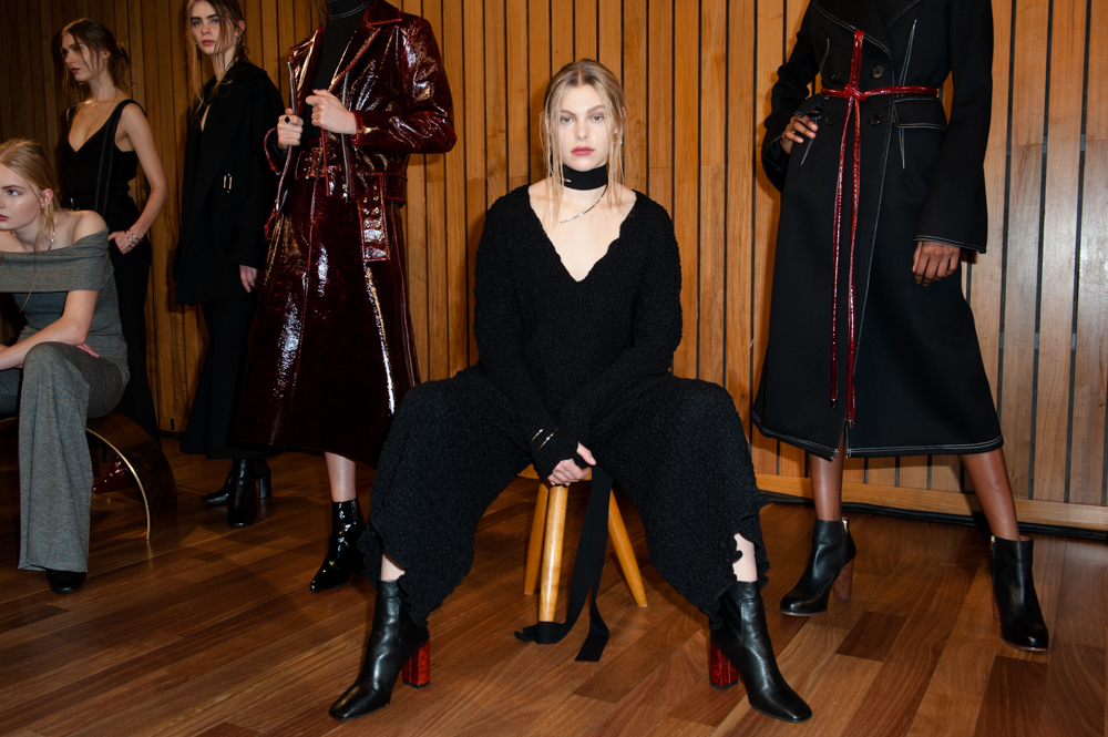NYFW Beaufille Fashion Presentation Fall:Winter 2016 Louboutins & Love Fashion Blog Esther Santer NYC Street Style Models Modern  Collection Hair Trends Pretty Inspo Event Details Photos Shoes Outfit Sweater Bell Bottoms Pants Skirt Coat Black Grey.jpg