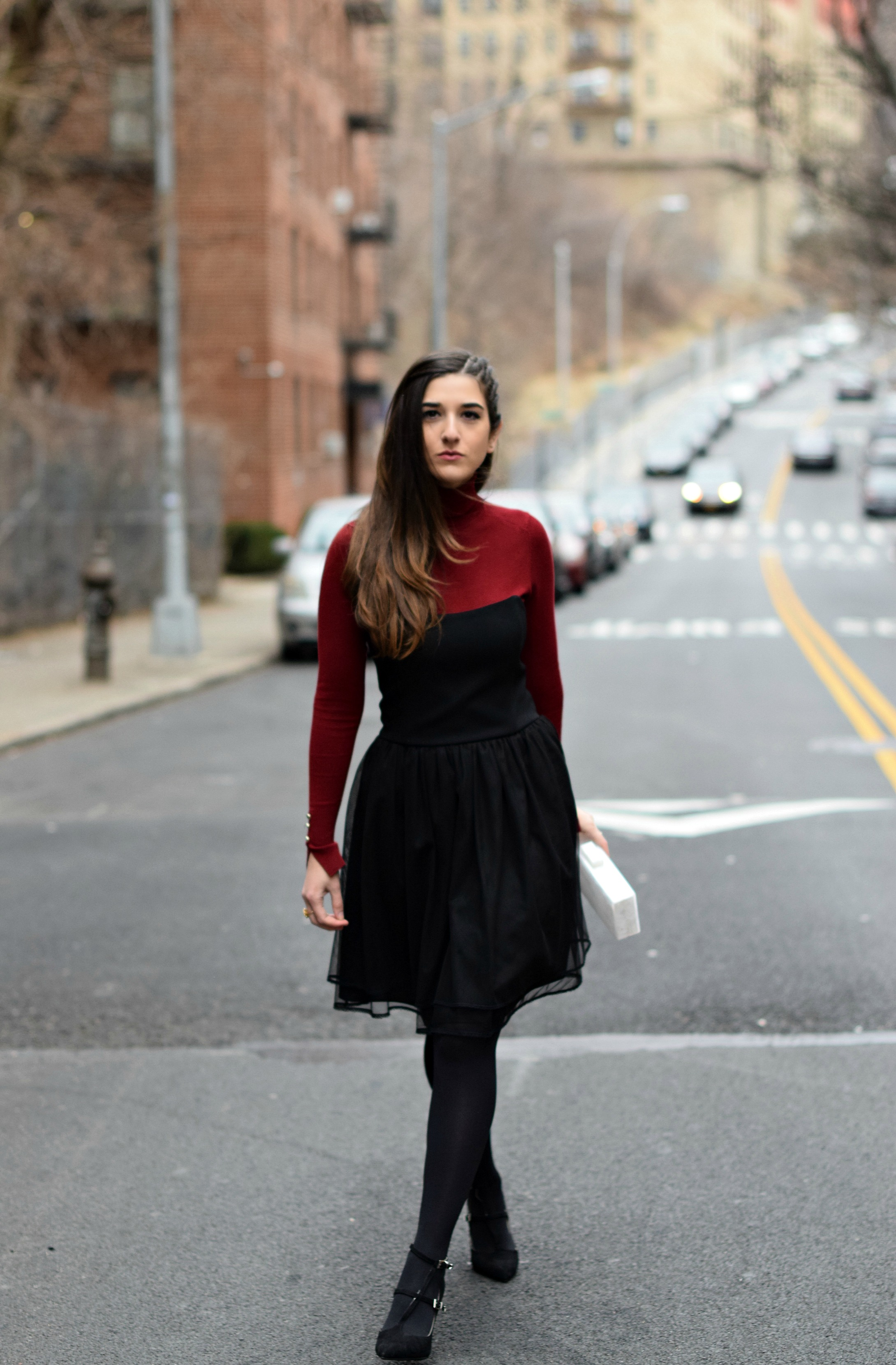 Red Turtleneck Under Strapless Dress Louboutins & Love Fashion Blog Esther Santer NYC Street Style Blogger Black Tights Name Monogrammed Clutch Hair Beautiful Inspo Model Photoshoot Shoes Heels Zara Outfit OOTD Women Girl Shopping Winter New York City.jpg