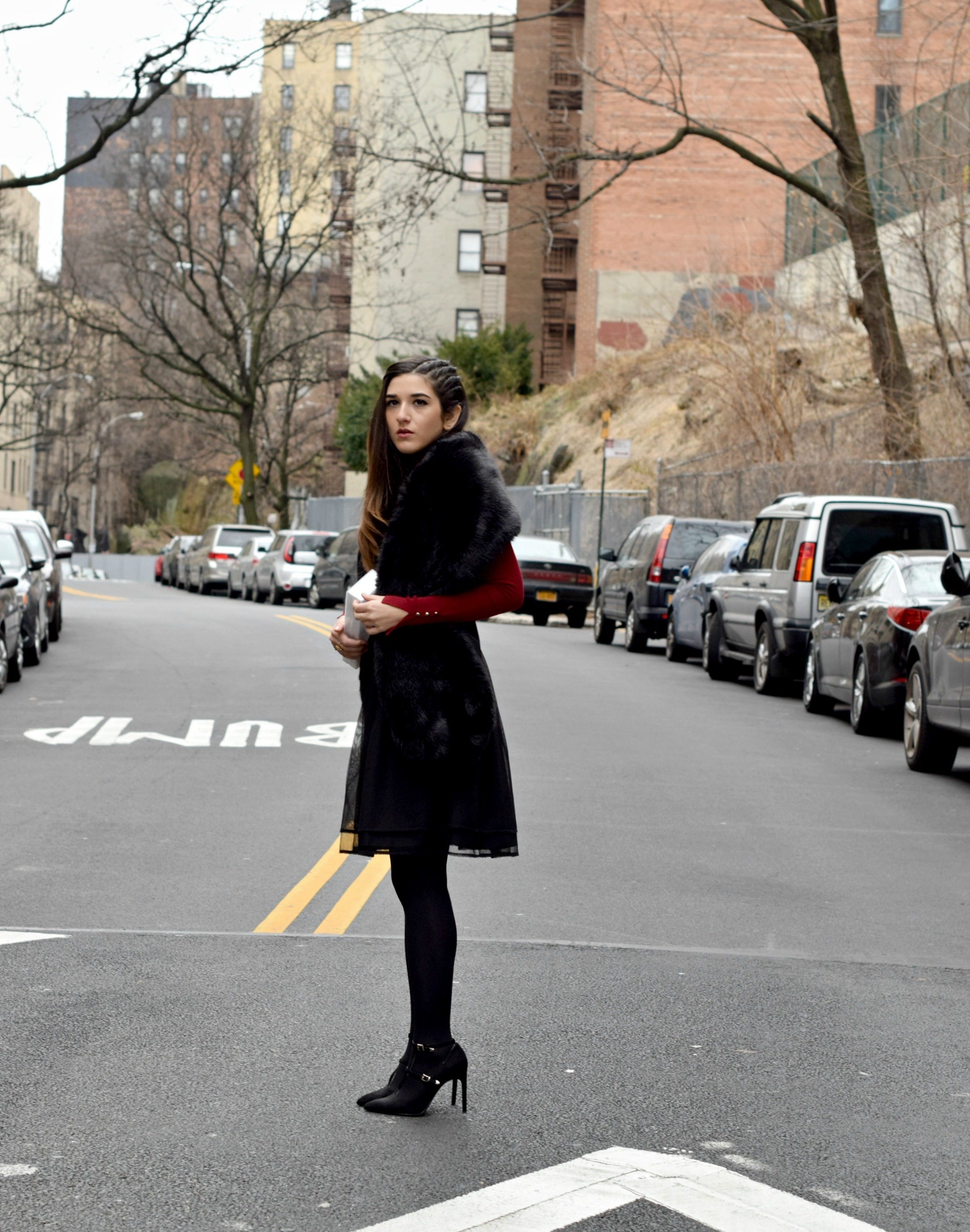 Red Turtleneck Under Strapless Dress Louboutins & Love Fashion Blog Esther Santer NYC Street Style Blogger Black Tights Name Monogrammed Clutch Hair Beautiful Inspo Model Photoshoot Shoes Heels Zara Outfit OOTD Shopping Women Girl Winter New York City.jpg