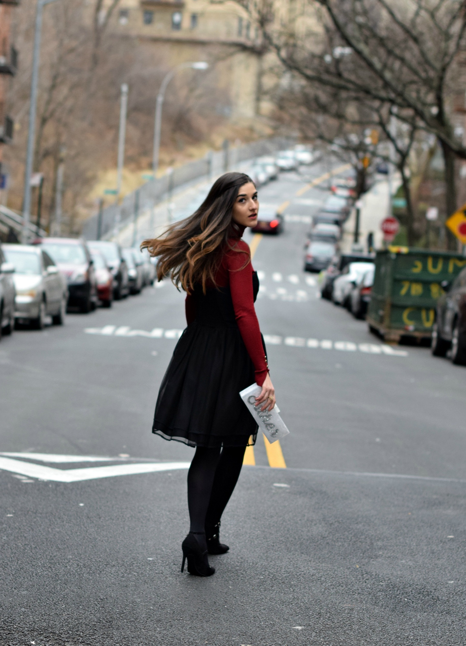 Red Turtleneck Under Strapless Dress Louboutins & Love Fashion Blog Esther Santer NYC Street Style Blogger Black Tights Name Monogrammed Clutch Hair Beautiful Inspo Model Photoshoot Shoes Heels Zara Outfit OOTD Shopping Girl Women New York City Winter.jpg