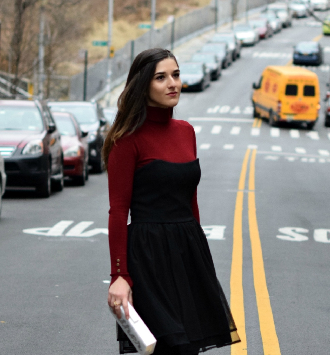 Red Turtleneck Under Strapless Dress Louboutins & Love Fashion Blog Esther Santer NYC Street Style Blogger Black Tights Name Monogrammed Clutch Hair Beautiful Inspo Model Photoshoot Zara Shoes Heels Outfit OOTD Girl Women Shopping Winter New York City.jpg