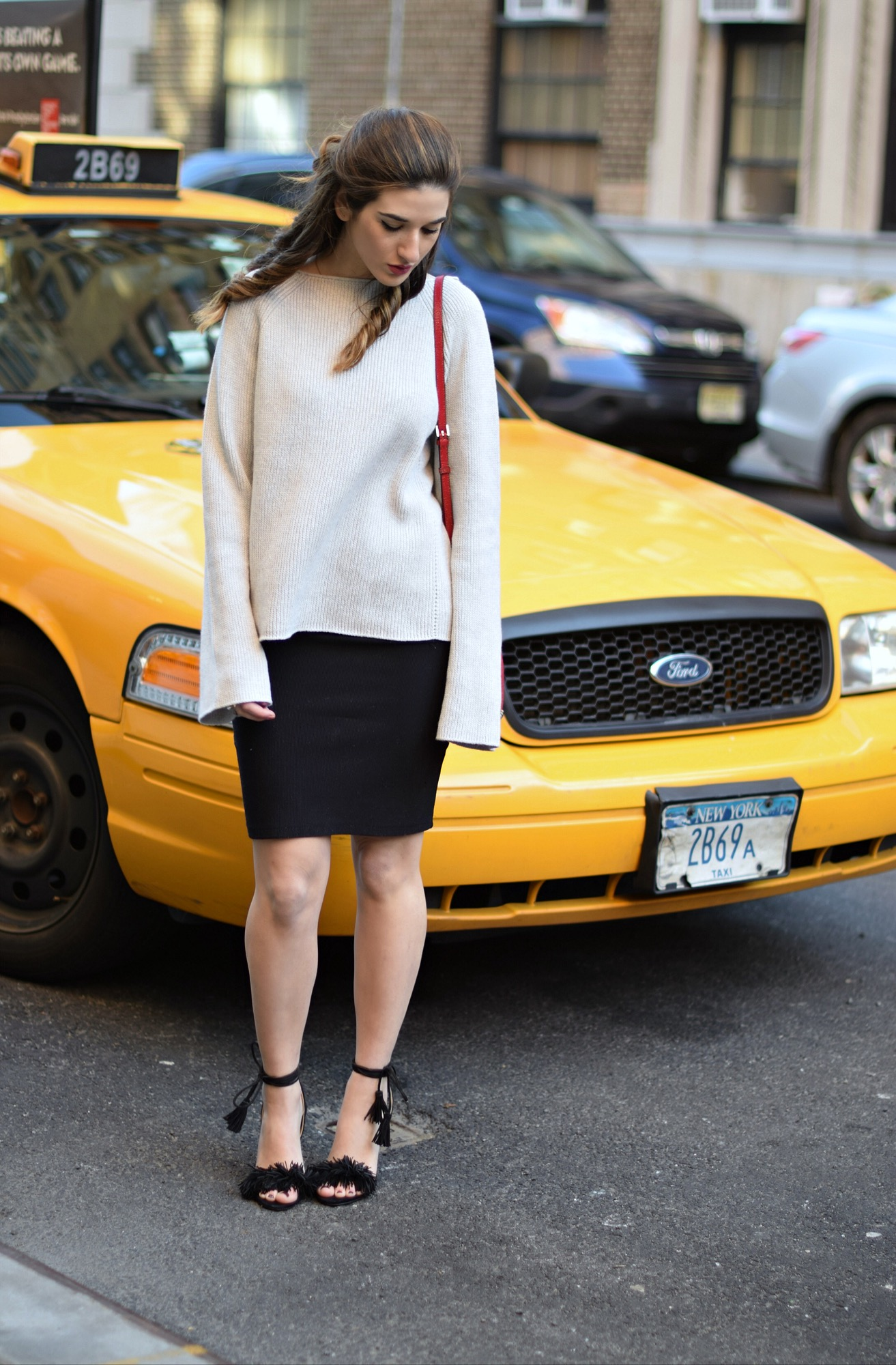 Helmut Lang Sweater Ivanka Trump Fringe Sandals Louboutins & Love Fashion Blog Esther Santer NYC Street Style Blogger Outfit OOTD Mini Skirt Summer Beautiful Photoshoot Model Chunky Knit Designer Clothes Shoes Nordstrom Forever 21 Shopping Red Bag DVF.JPG