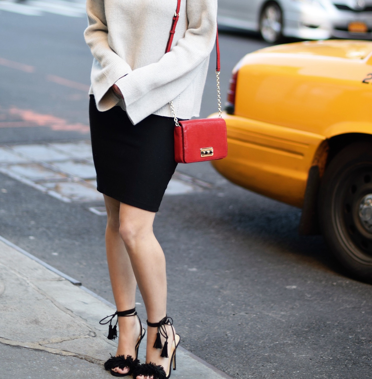 Helmut Lang Sweater Ivanka Trump Fringe Sandals Louboutins & Love Fashion Blog Esther Santer NYC Street Style Blogger Outfit OOTD Mini Skirt Summer Beautiful Forever 21 Photoshoot Model Chunky Knit Designer Clothes Shoes Nordstrom DVF Red Bag Shopping.JPG