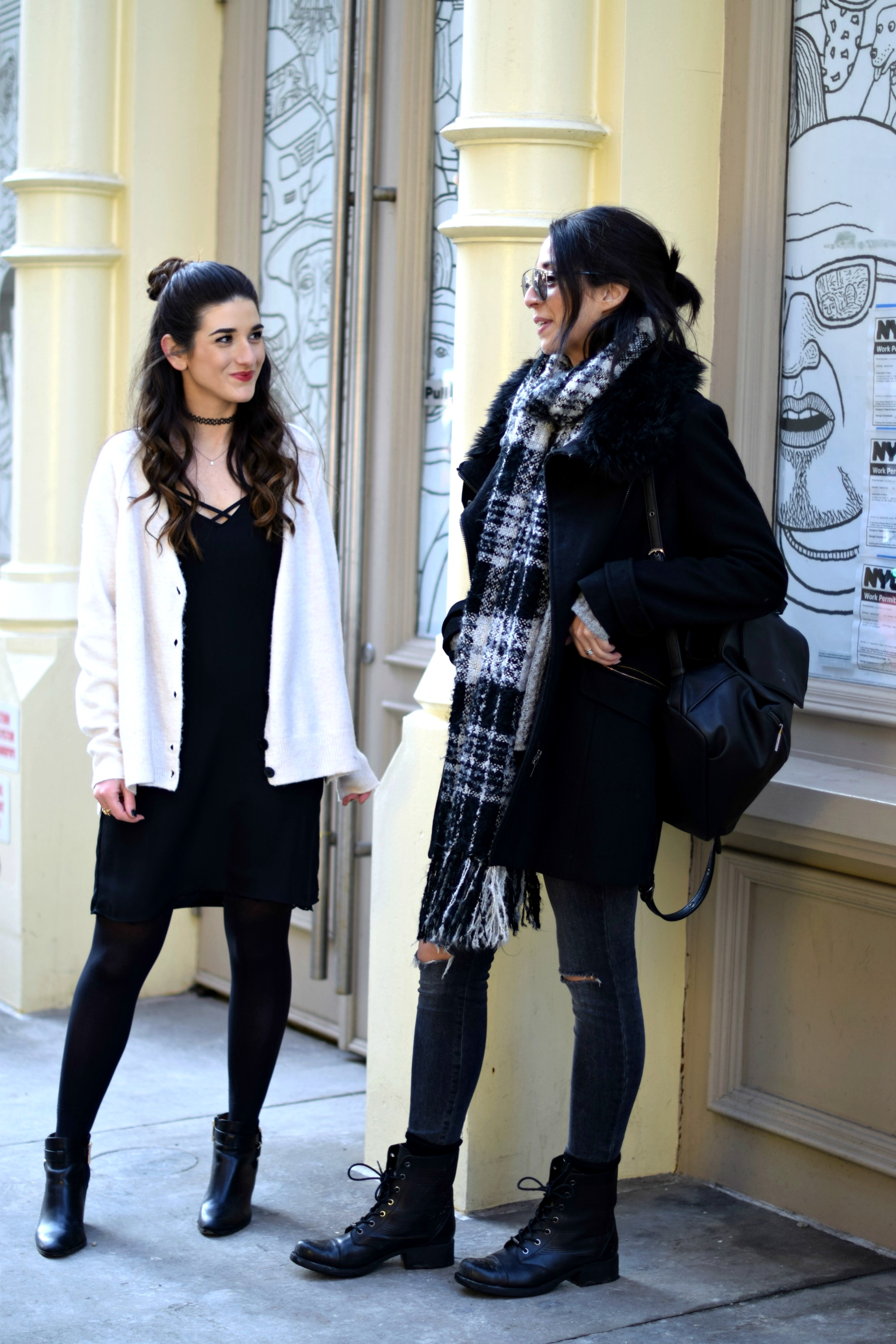 Black Lingerie Dress White Sweater Louboutins & Love Fashion Blog Esther Santer NYC Street Style Outfit OOTD Inspo Bralette Brandy Melville Photoshoot Model Girl Women Brunch Coffee Latte Art Sunglasses Shoes Booties Tights Chunky Knits Choker Winter.jpg