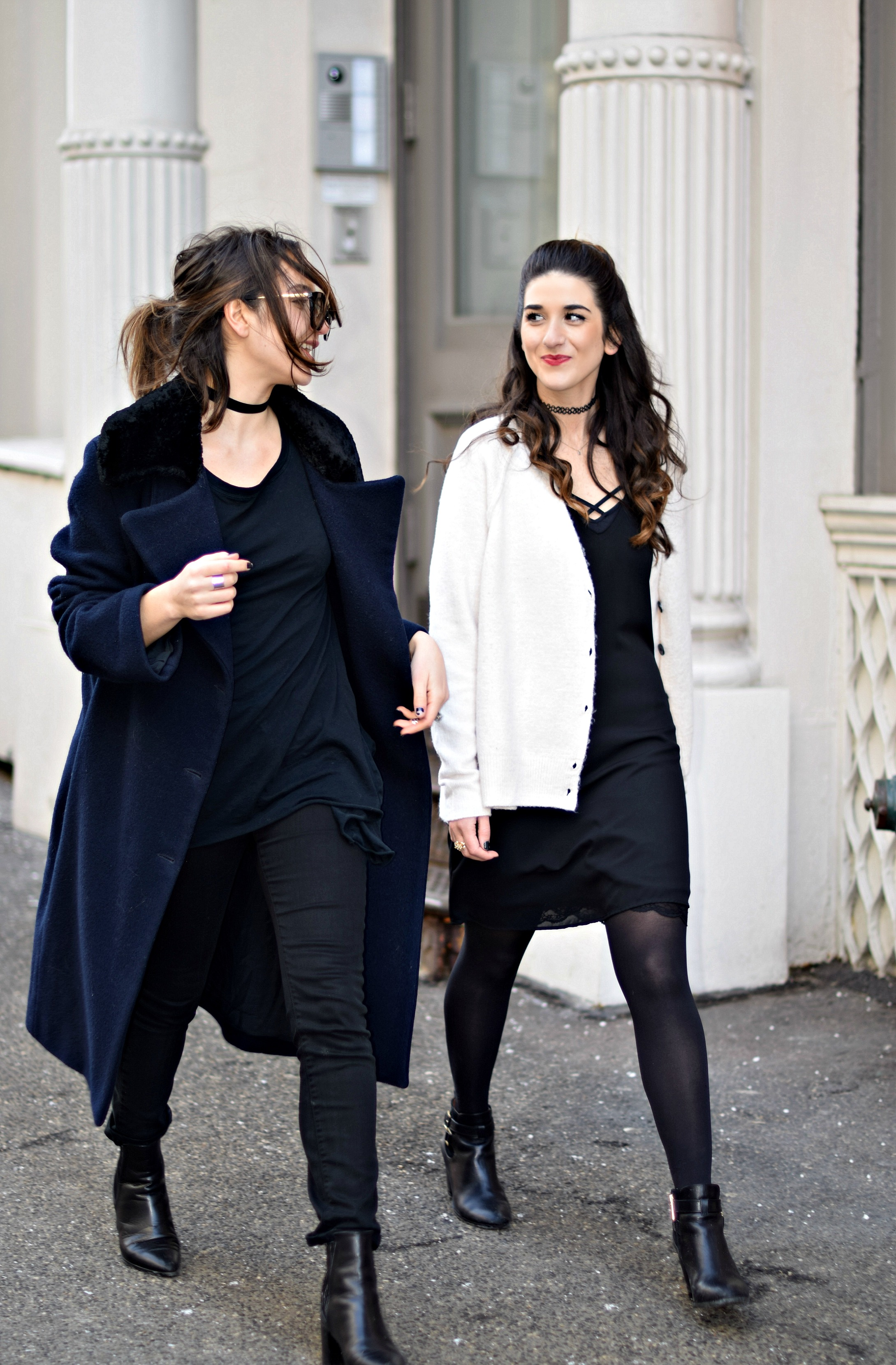 Black Lingerie Dress White Sweater Louboutins & Love Fashion Blog Esther Santer NYC Street Style Outfit OOTD Inspo Bralette Brandy Melville Model Photoshoot Girl Women Brunch Sunglasses Coffee Latte Art Chunky Knits Shoes Booties Tights Choker Winter.jpg