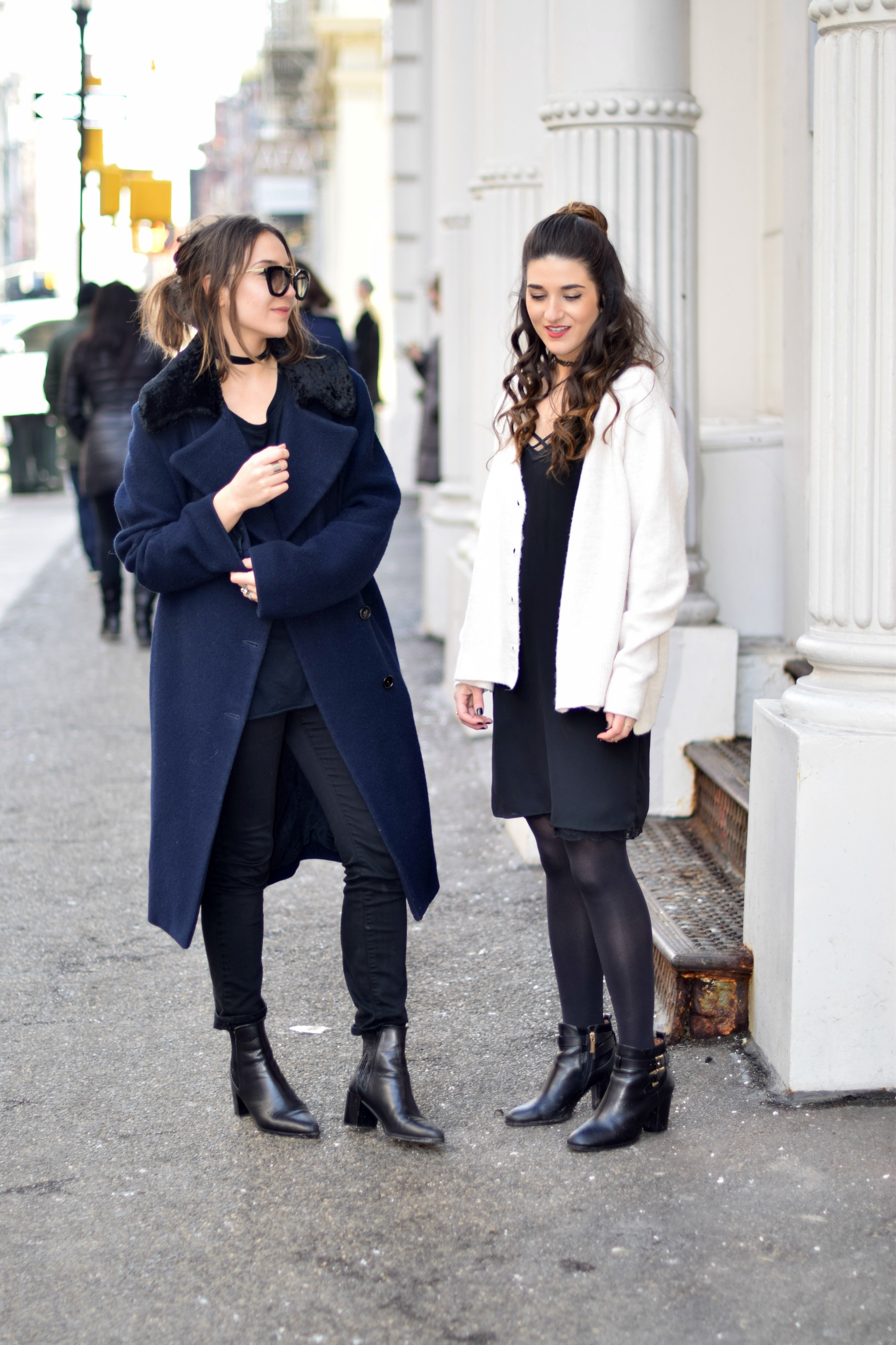 Black Lingerie Dress White Sweater Louboutins & Love Fashion Blog Esther Santer NYC Street Style Outfit OOTD Inspo Bralette Brandy Melville Photoshoot Model Girl Women Brunch Coffee Latte Art Sunglasses Winter Shoes Booties Tights Chunky Knits Choker.jpg