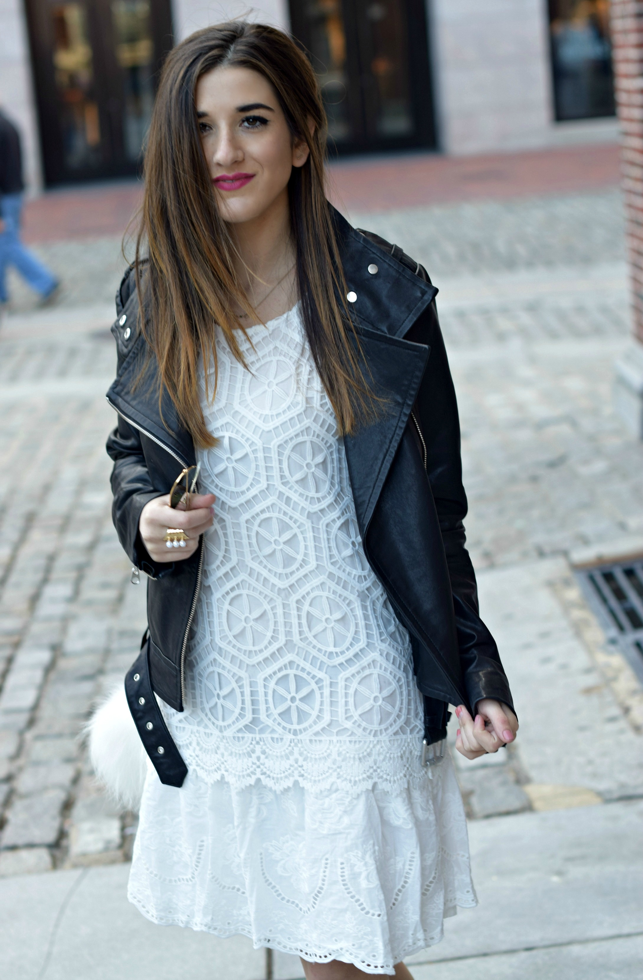 Desigual White Lace Dress Mackage Moto Jacket Louboutins & Love Fashion Blog Esther Santer NYC Street Style Blogger Outfit OOTD Black Booties Nordstrom Shoes Inspo Photoshoot Boston Leather Bag Pom Pom Fall Look Model Girl Women Beautiful Hair Pretty.jpg