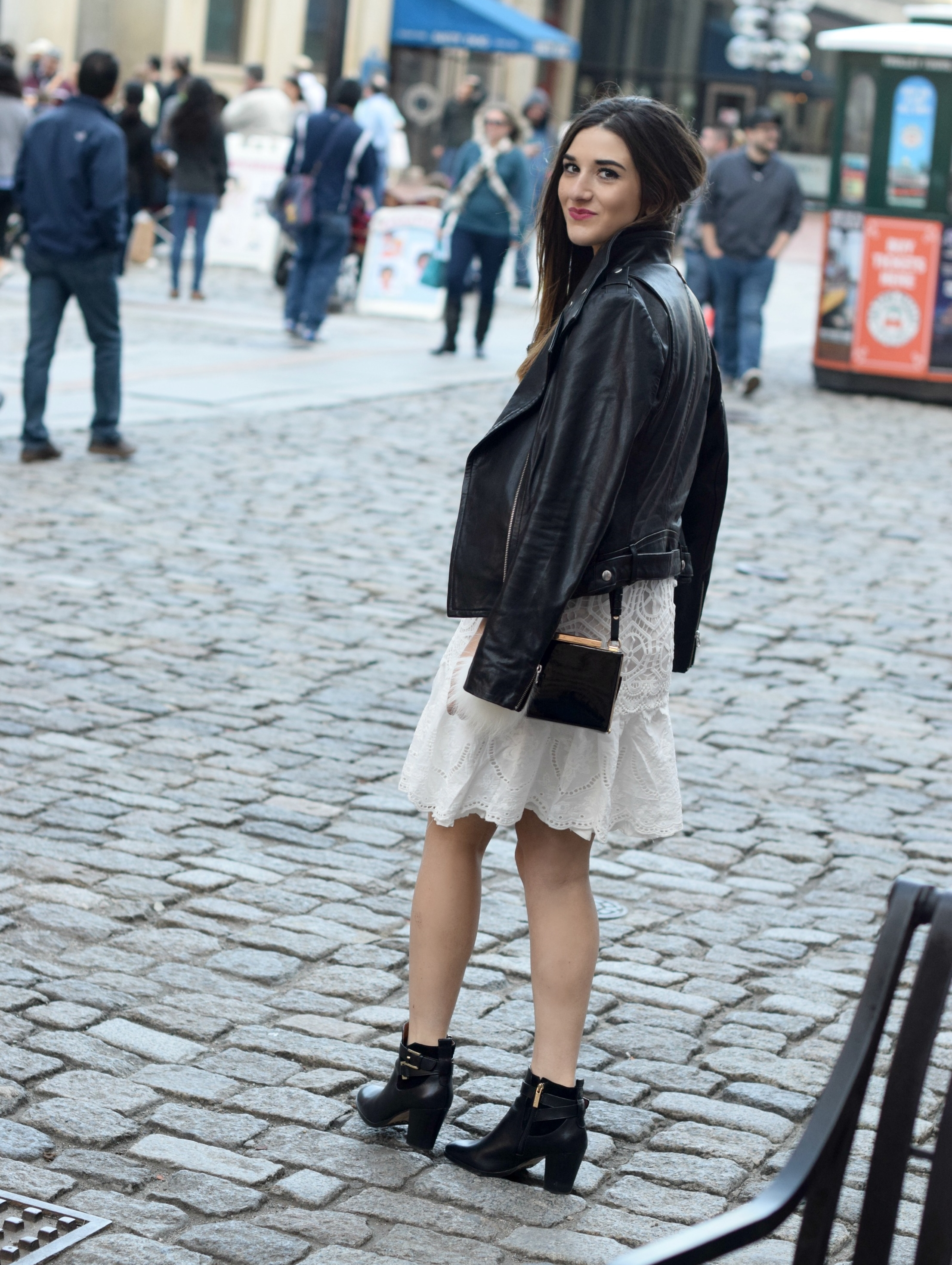 Desigual White Lace Dress Mackage Moto Jacket Louboutins & Love Fashion Blog Esther Santer NYC Street Style Blogger Outfit OOTD Black Booties Nordstrom Shoes Inspo Photoshoot Boston Leather Bag Pom Pom Model Girl Women Hair Fall Look Beautiful Pretty.jpg