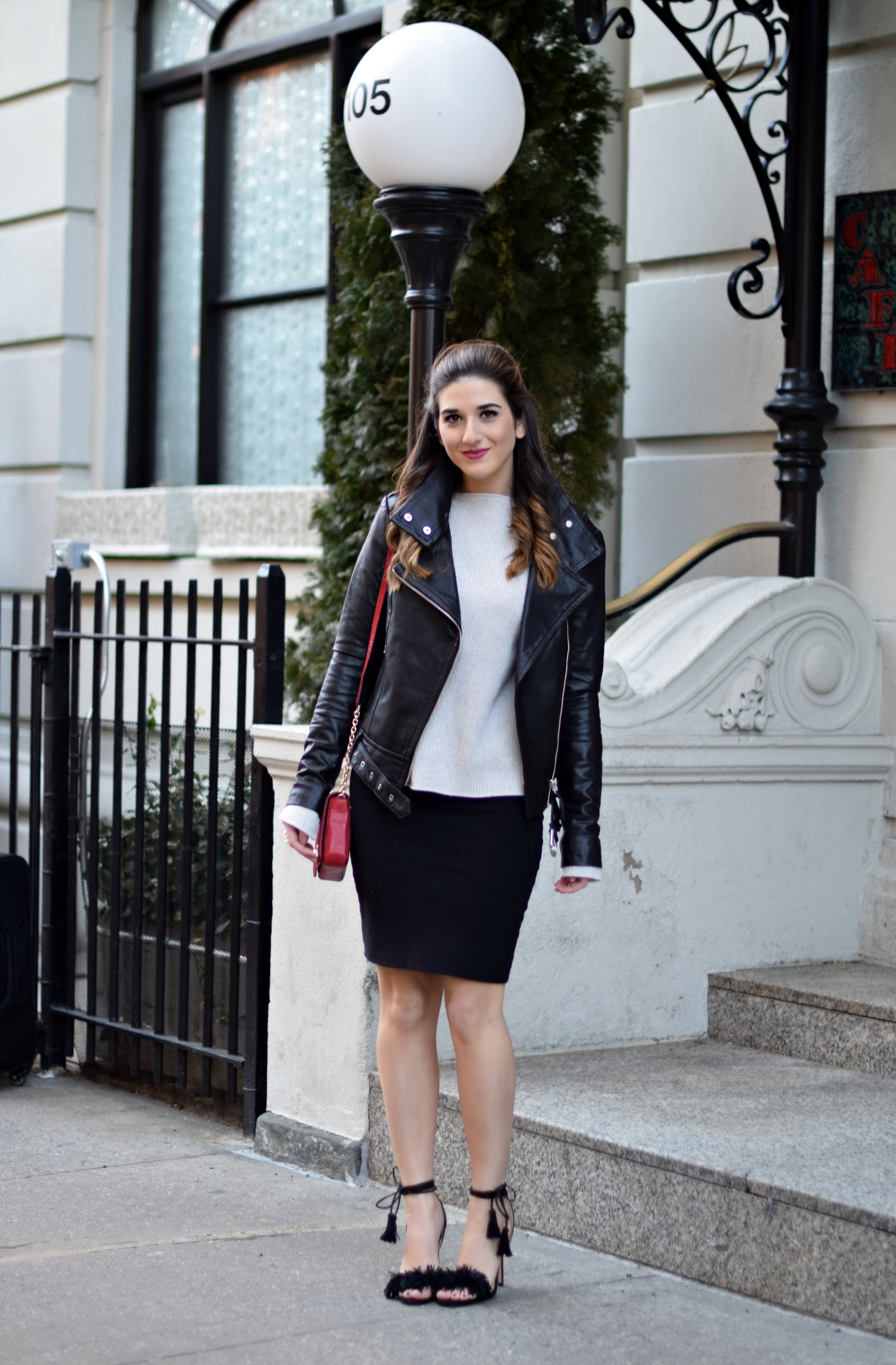 Ivanka Trump Fringe Sandals Mackage Moto Jacket Louboutins & Love Fashion Blog Esther Santer NYC Street Style Blogger Outfit OOTD Leather Summer Spring Designer Clothes Shop Model Photoshoot Helmut Lang Sweater Skirt Beautiful Pretty Shoes Girl Women.jpg