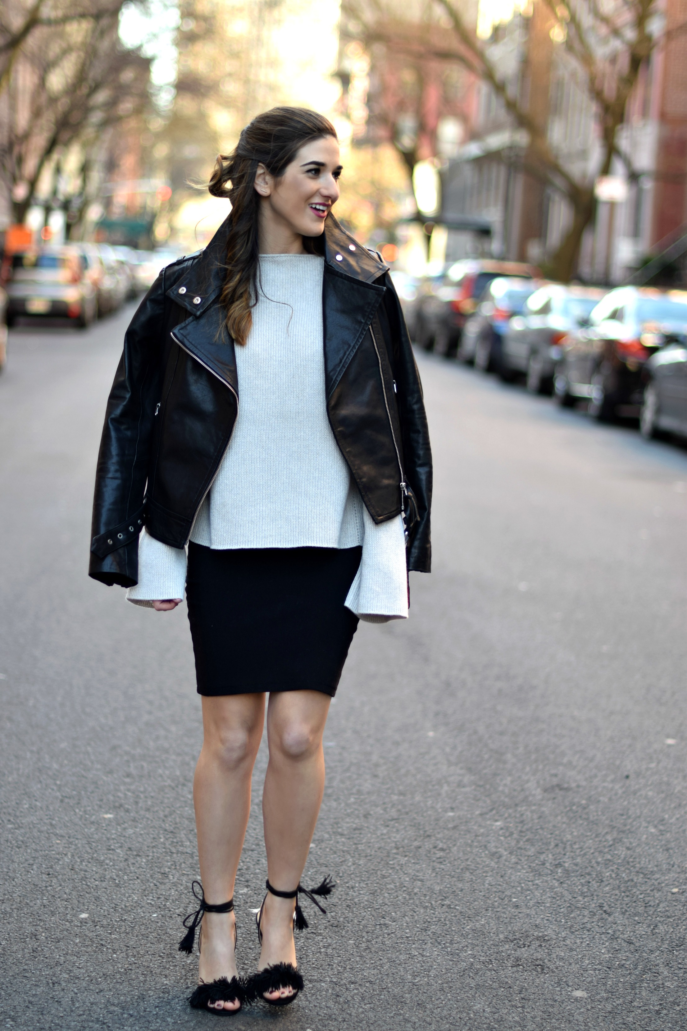 Ivanka Trump Fringe Sandals Mackage Moto Jacket Louboutins & Love Fashion Blog Esther Santer NYC Street Style Blogger Outfit OOTD Leather Summer Spring Designer Clothes Shop Model Photoshoot Skirt Helmut Lang Sweater Beautiful Pretty Shoes Girl Women.jpg