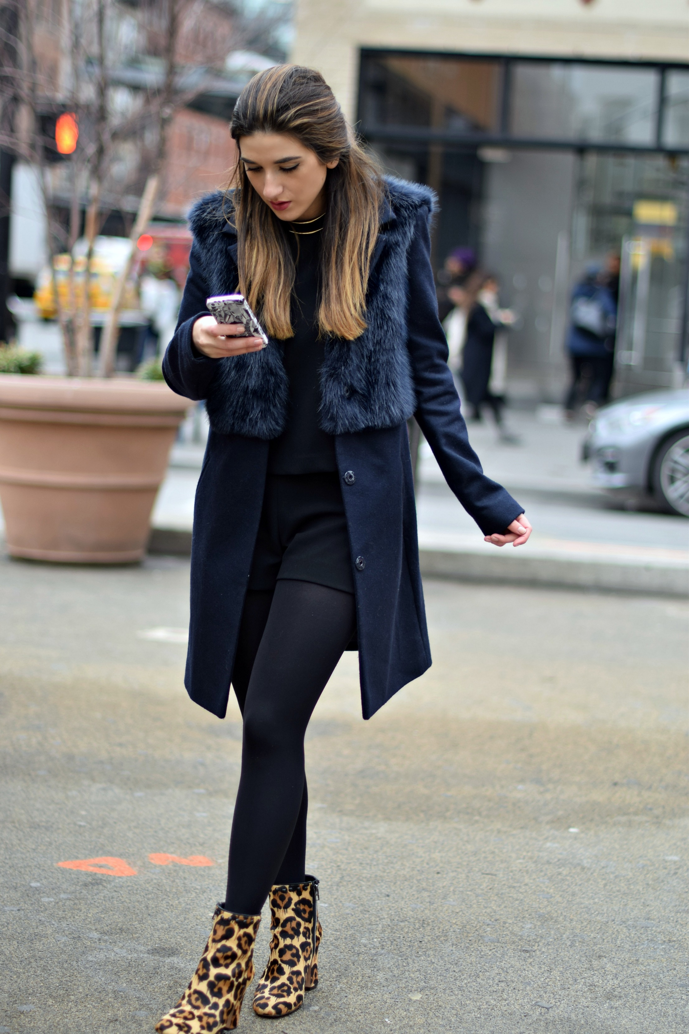 Navy Coat Coach Leopard Booties Louboutins & Love Fashion Blog Esther Santer NYC Street Style Blogger Outfit OOTD Fur Topshop Shopping Girl Women Swag Photoshoot Model Beautiful Winter Look NYFW Tights Ivanka Trump Soho Tote Ombre Hair City Lifestyle.jpg