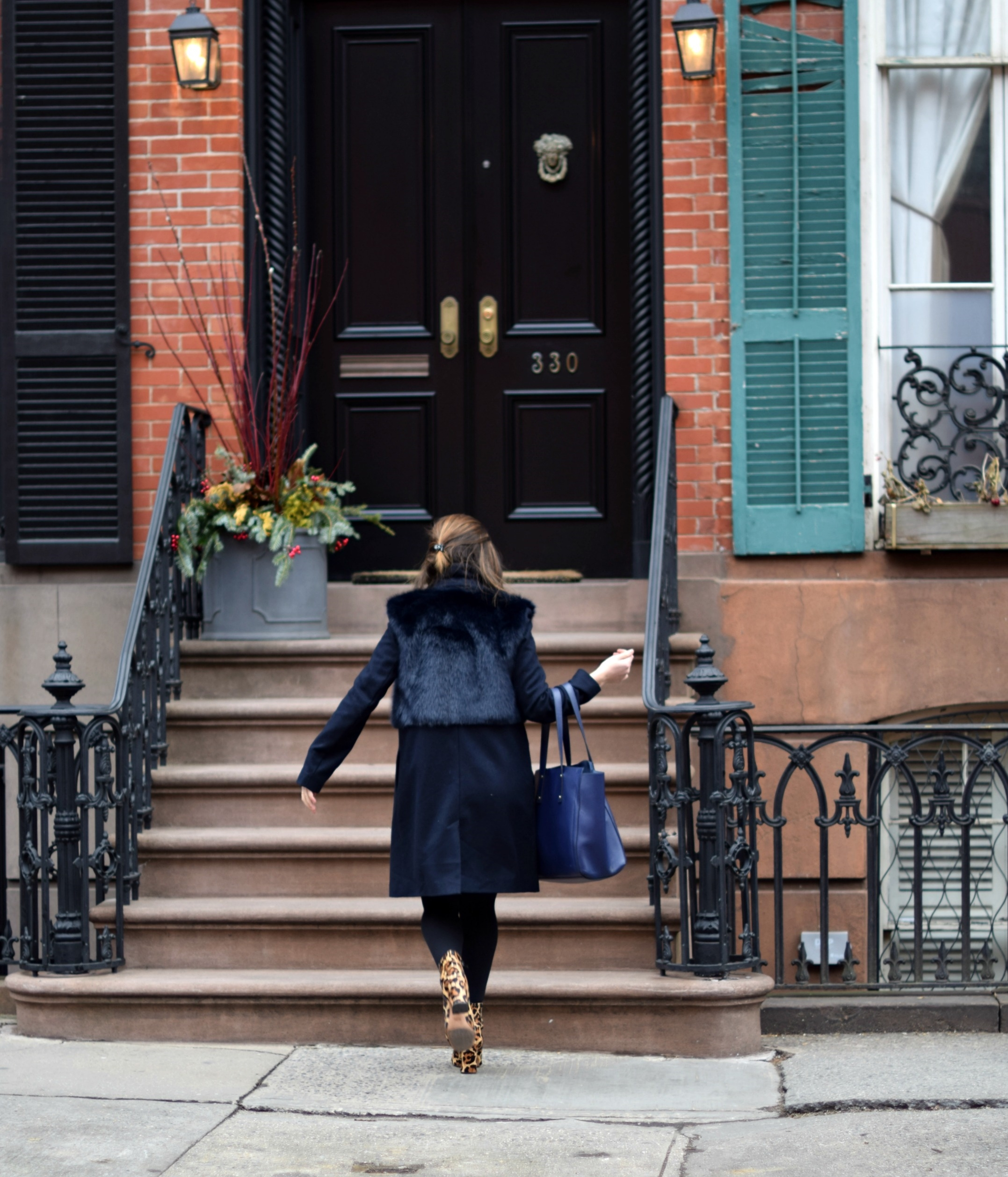 Navy Coat Coach Leopard Booties Louboutins & Love Fashion Blog Esther Santer NYC Street Style Blogger Outfit OOTD Fur Topshop Shopping Girl Women Swag Photoshoot Model Beautiful Winter Look NYFW Shoes Tights Ivanka Trump Soho Tote Hair City Lifestyle.jpg