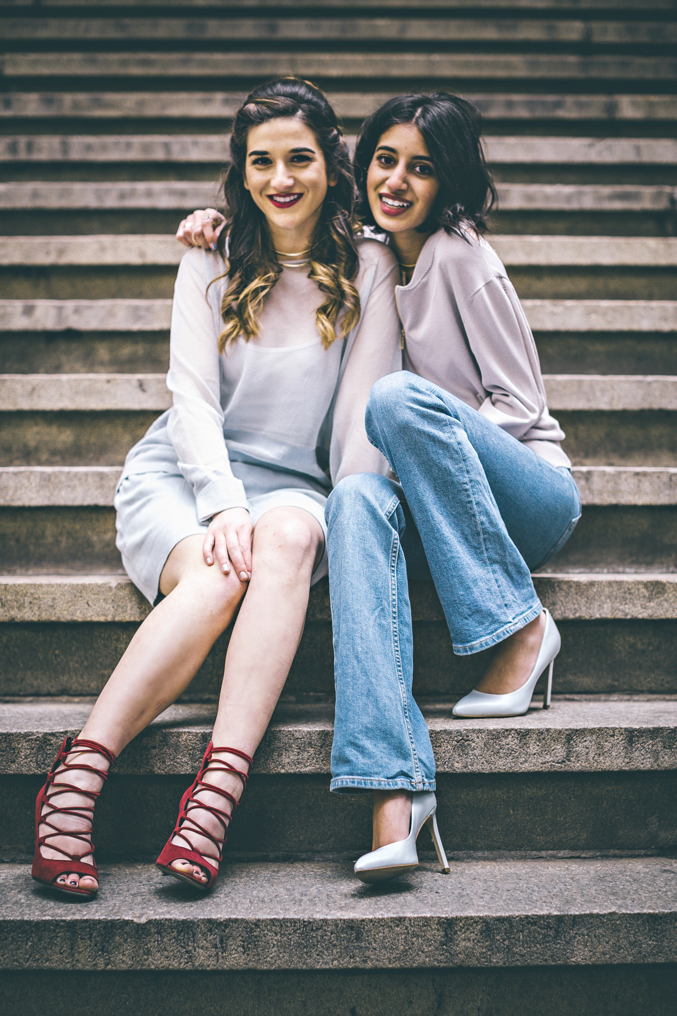 Louboutins & Love x Our Second Skin Photoshoot Collab Esther Santer NYC Street Style Fashion Blogger Anaa Saber Girls Women Matthew Pastula Photography Gold Jewelry Models Collar Necklace Monochrome Blue Skirt Sheer Top Outfit Shoes Look Lace-Up Heels.jpg