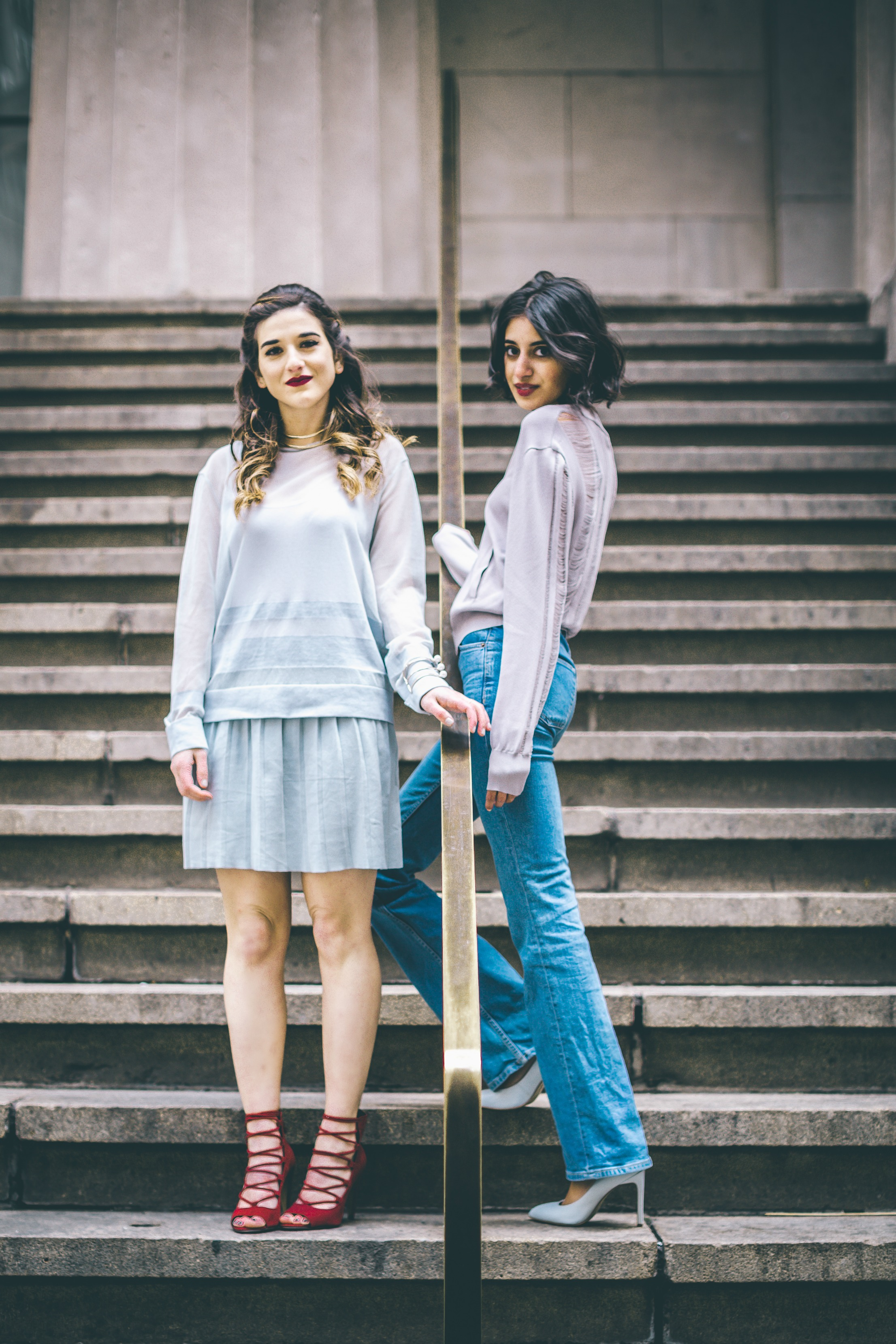 Louboutins & Love x Our Second Skin Photoshoot Collab Esther Santer NYC Street Style Fashion Blogger Anaa Saber Girls Women Matthew Pastula Photography Gold Jewelry Models Collar Necklace Monochrome Sheer Top Blue Skirt French Connection Lace-Up Heels.jpg