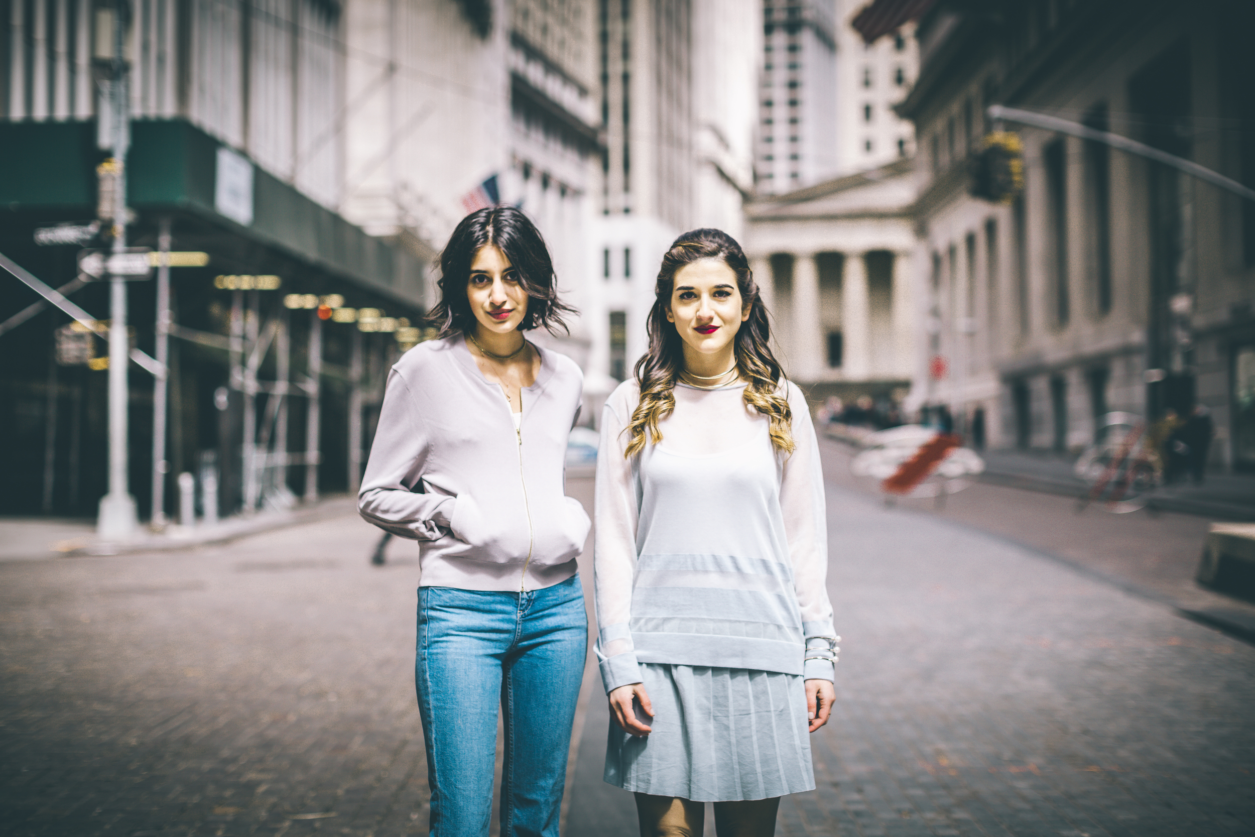 Louboutins & Love x Our Second Skin Photoshoot Collab Esther Santer NYC Street Style Fashion Blogger Anaa Saber Girls Women Matthew Pastula Photography Gold Jewelry Models Collar Necklace Monochrome Blue Skirt Sheer Top Shoes Outfit Look Lace-Up Heels.jpg
