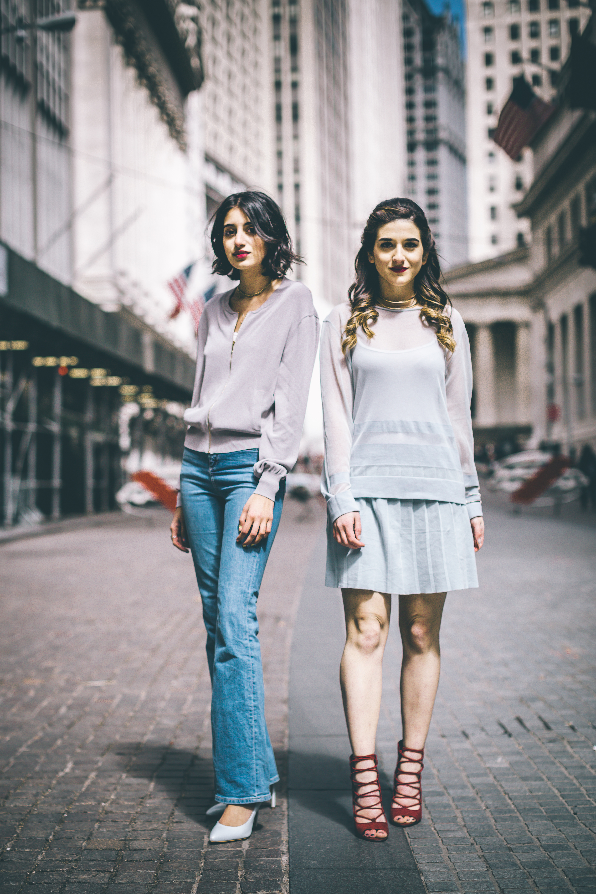 Louboutins & Love x Our Second Skin Photoshoot Collab Esther Santer NYC Street Style Fashion Blogger Anaa Saber Girls Women Matthew Pastula Photography Models Gold Jewelry Collar Necklace Monochrome Blue Skirt Sheer Top Lace-Up Heels French Connection.jpg