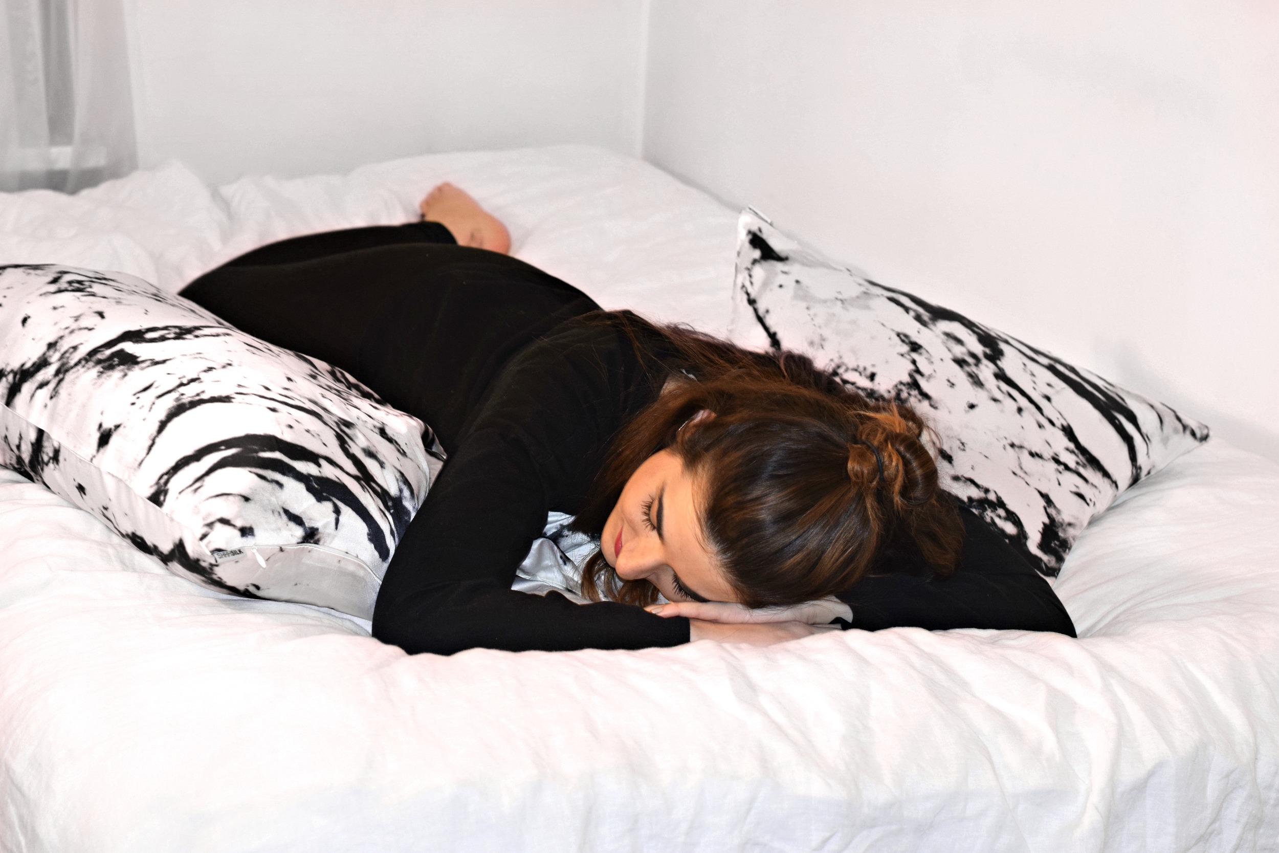 Marble Pillowcases Shhh Silk Louboutins & Love Fashion Blog Esther Santer NYC Street Style Blogger Black Outfit Bed Photoshoot Girl Women White Inspo Inspiration Trendy Wear Shop Topknot Buy Bedding Australia New York City Bedroom Pretty Need Shirt.jpg
