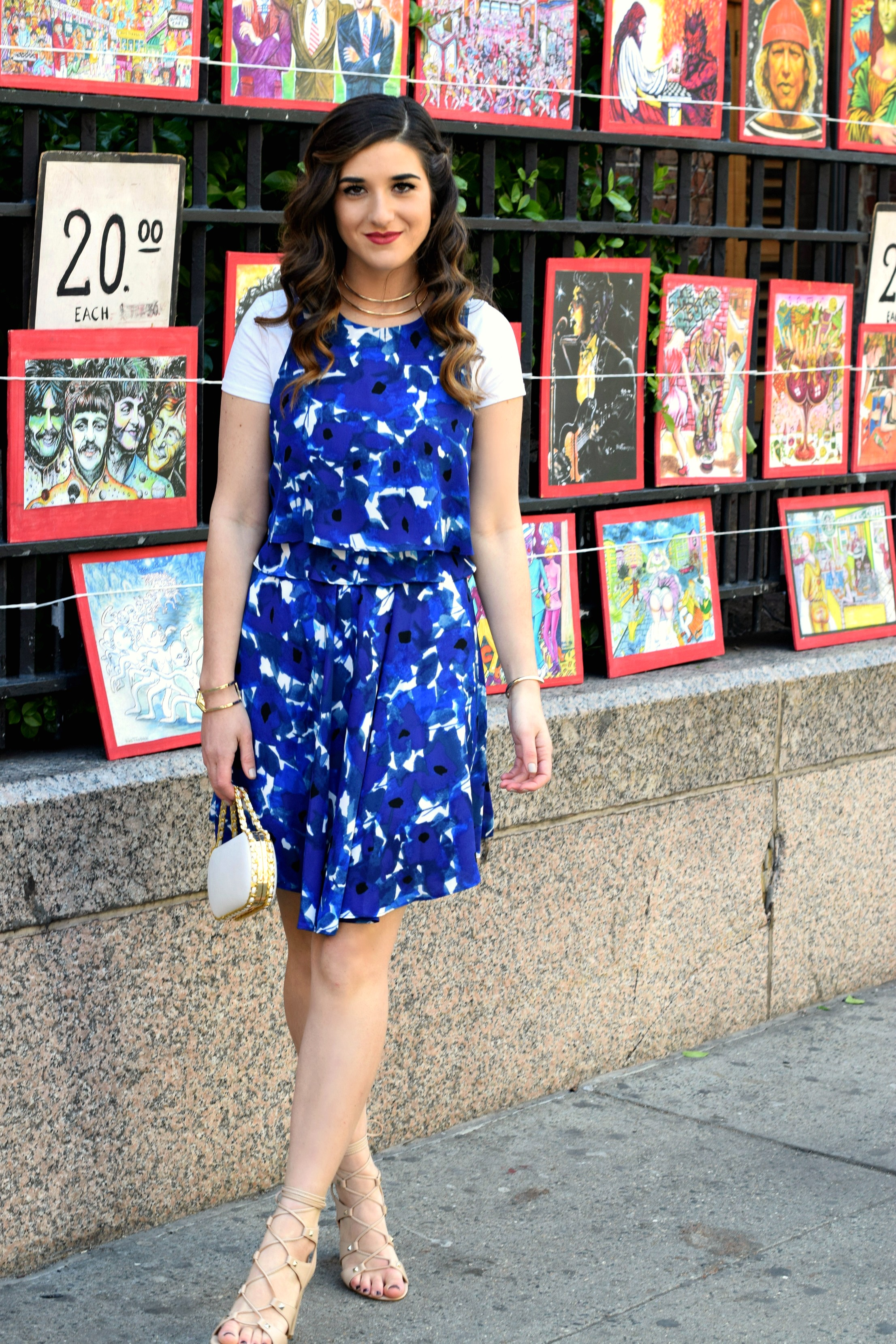 Floral Dress Lace-Up Heels Ivanka Trump Louboutins & Love Fashion Blog Esther Santer NYC Street Style Blogger Outfit OOTD Blue Pretty Girl Women Erin Dana Bag Happy Summer Spring Model New York City Sandals Shoes White Tee Gold Choker Jewerly Bracelet.jpg