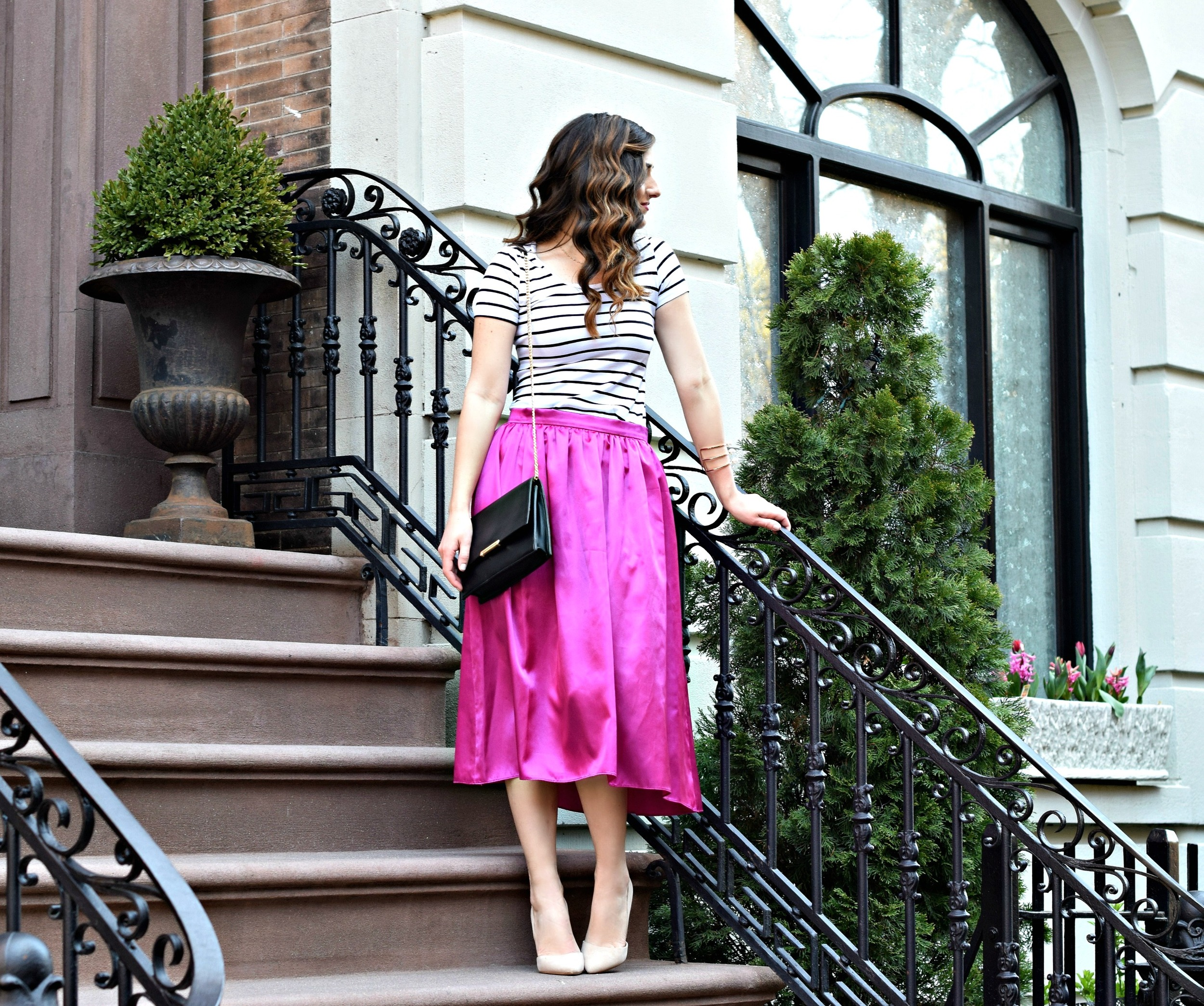 Fuchsia Party Skirt More Than Just Figleaves Louboutins & Love Fashion Blog Esther Santer NYC Street Style Blogger Outfit OOTD Midi Photoshoot Women Girl Striped T-Shirt Black BagIvanka Trump Choker Bracelet Gold Jewelry Nude Heels Shoes Steve Madden.jpg