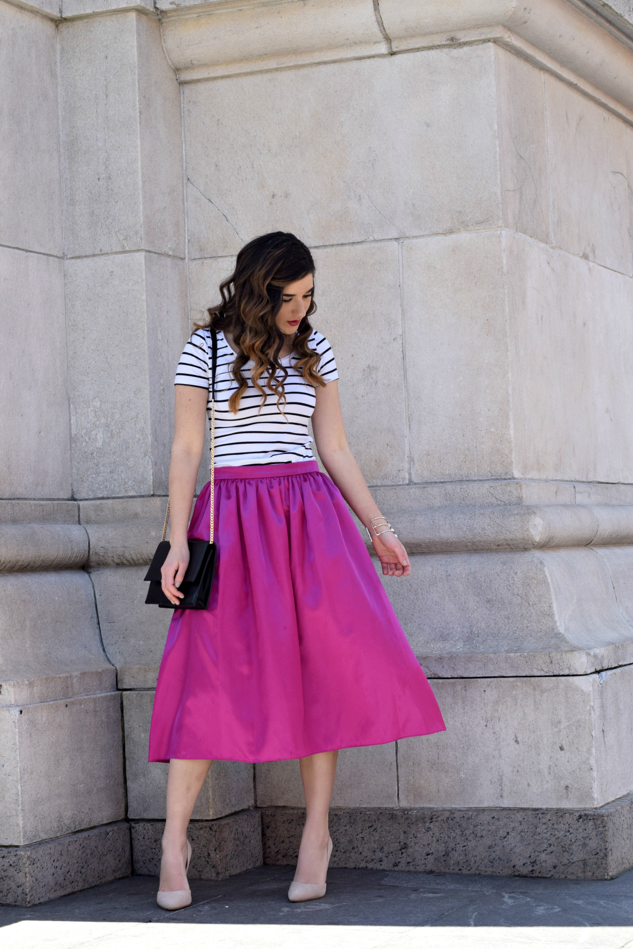 Fuchsia Party Skirt More Than Just Figleaves Louboutins & Love Fashion Blog Esther Santer NYC Street Style Blogger Outfit OOTD Midi Photoshoot Women Girl Striped Tee Ivanka Trump Black Purse Choker Bracelet Gold Jewelry Nude Heels Shoes Steve Madden.jpg