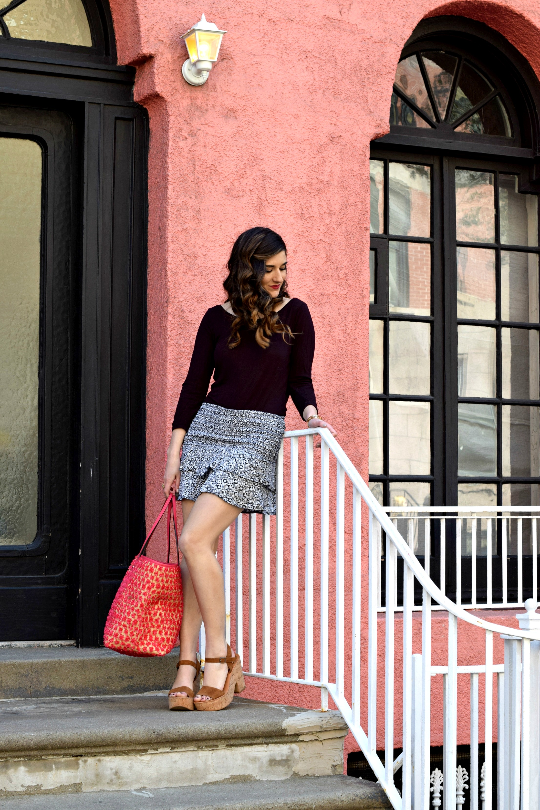 Printed Mini Skirt Henri Bendel Pom Pom Tote Louboutins & Love Fashion Blog Esther Santer NYC Street Style Blogger Outfit OOTD Summer Look Pretty Beautiful Inspo Photoshoot Girl Women Shoes Wedges Sandals Pink Purple Colorful Hair Shopping Beach Bag.jpg