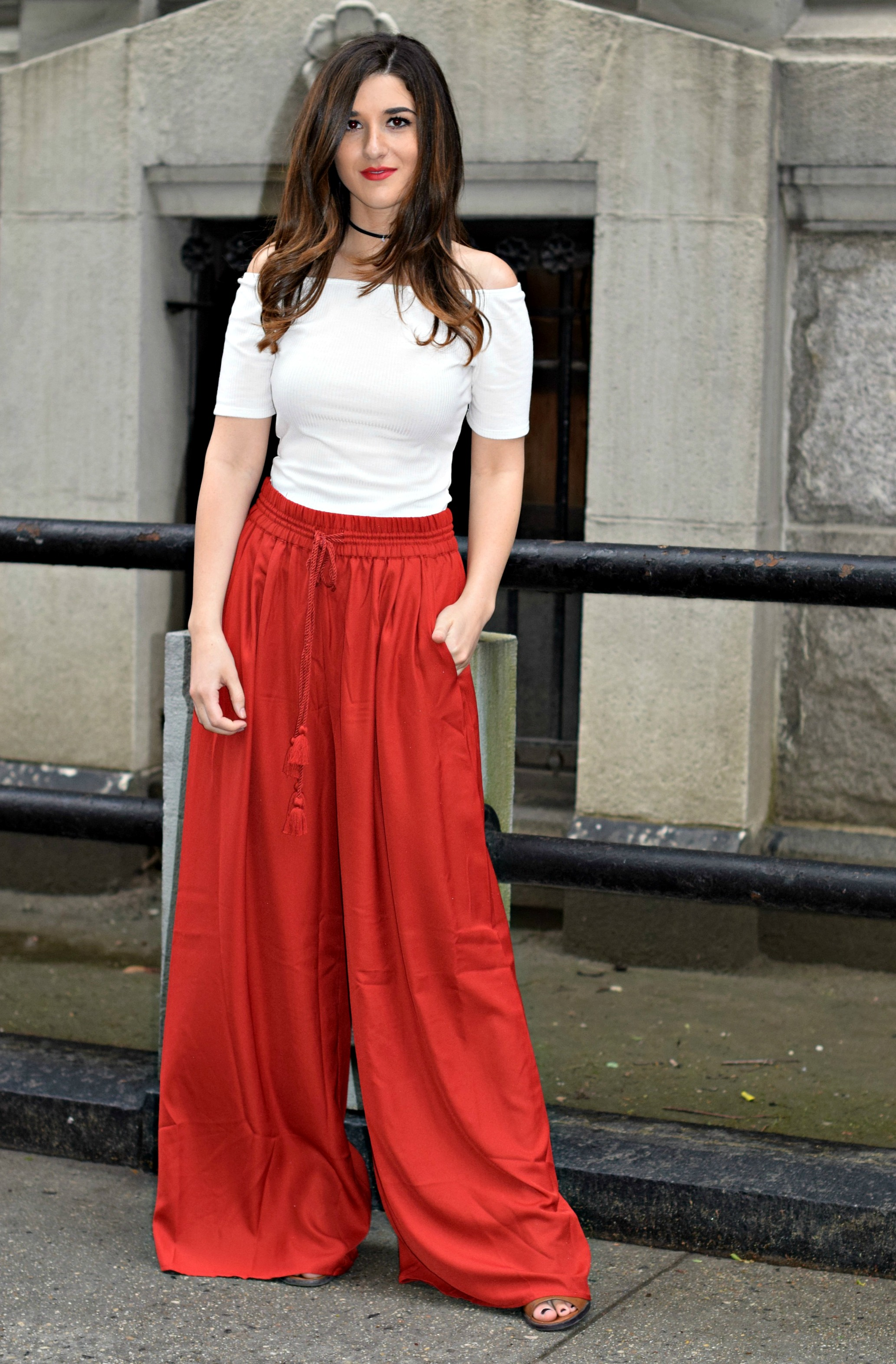 New Haircut Red Palazzo Pants Louboutins & Love Fashion Blog Esther Santer NYC Street Style Blogger Outfit OOTD Colorful Choker ELAHN Jewels Jewelry Cold Shoulder White Top Girl Women Pretty Shop New York City Model Hair Inspo Spring Summer Photoshoot.jpg