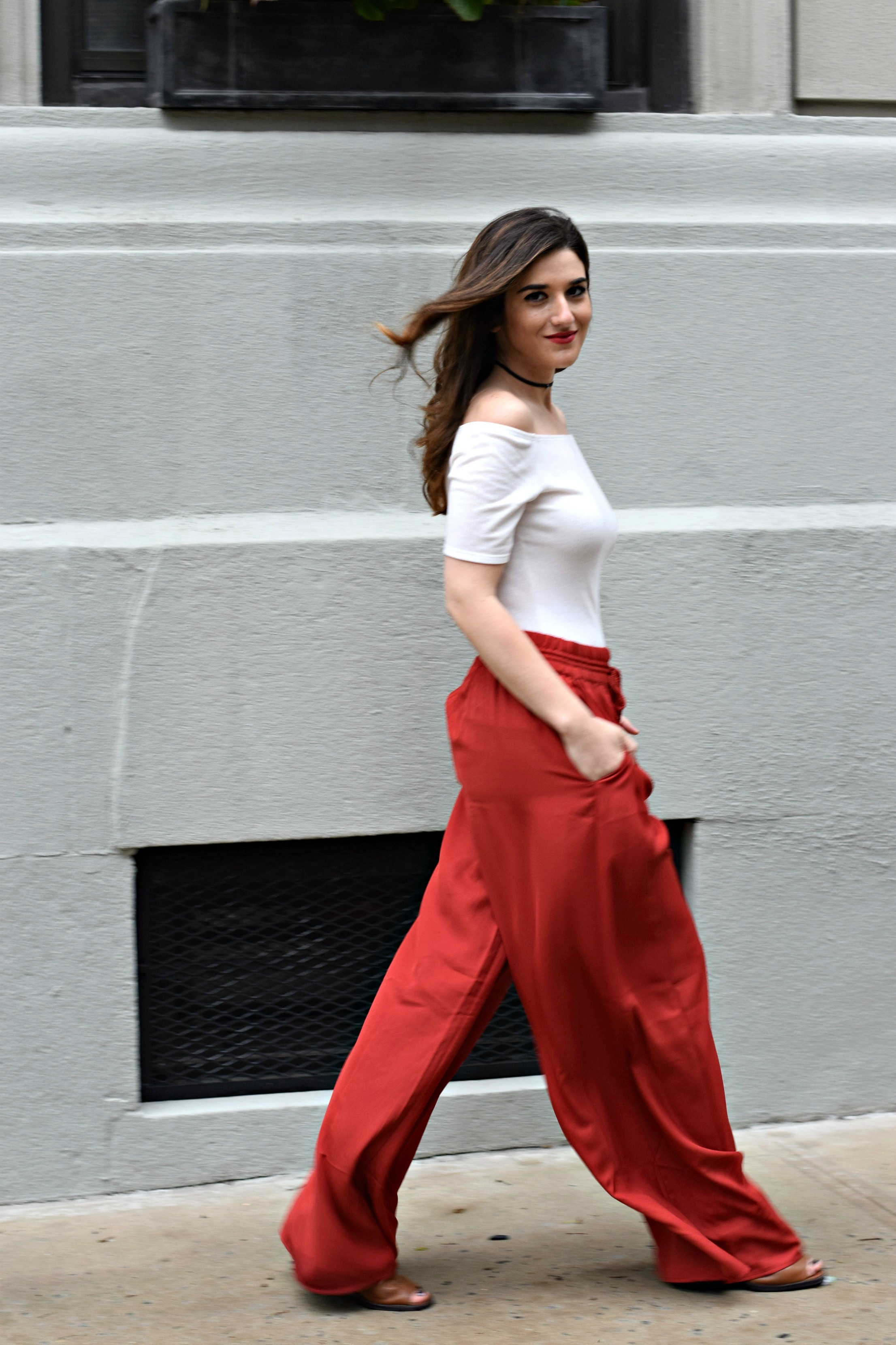 New Haircut Red Palazzo Pants Louboutins & Love Fashion Blog Esther Santer NYC Street Style Blogger Outfit OOTD Colorful Choker ELAHN Jewels Jewelry Cold Shoulder White Top Girl Women Pretty Shop Photoshoot Model New York City Spring Summer Hair Inspo.jpg