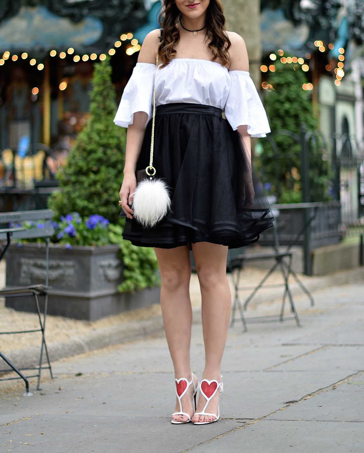 Naomy Stern Couture Custom Tulle Skirt White Heart Louboutins & Love Fashion Blog Esther Santer NYC Street Style Blogger Christian Louboutin Outfit OOTD Elegant Model Photoshoot Fancy Cold Shoulder Ivanka Trump Black Purse Bag Pom Pom Choker Pretty.JPG