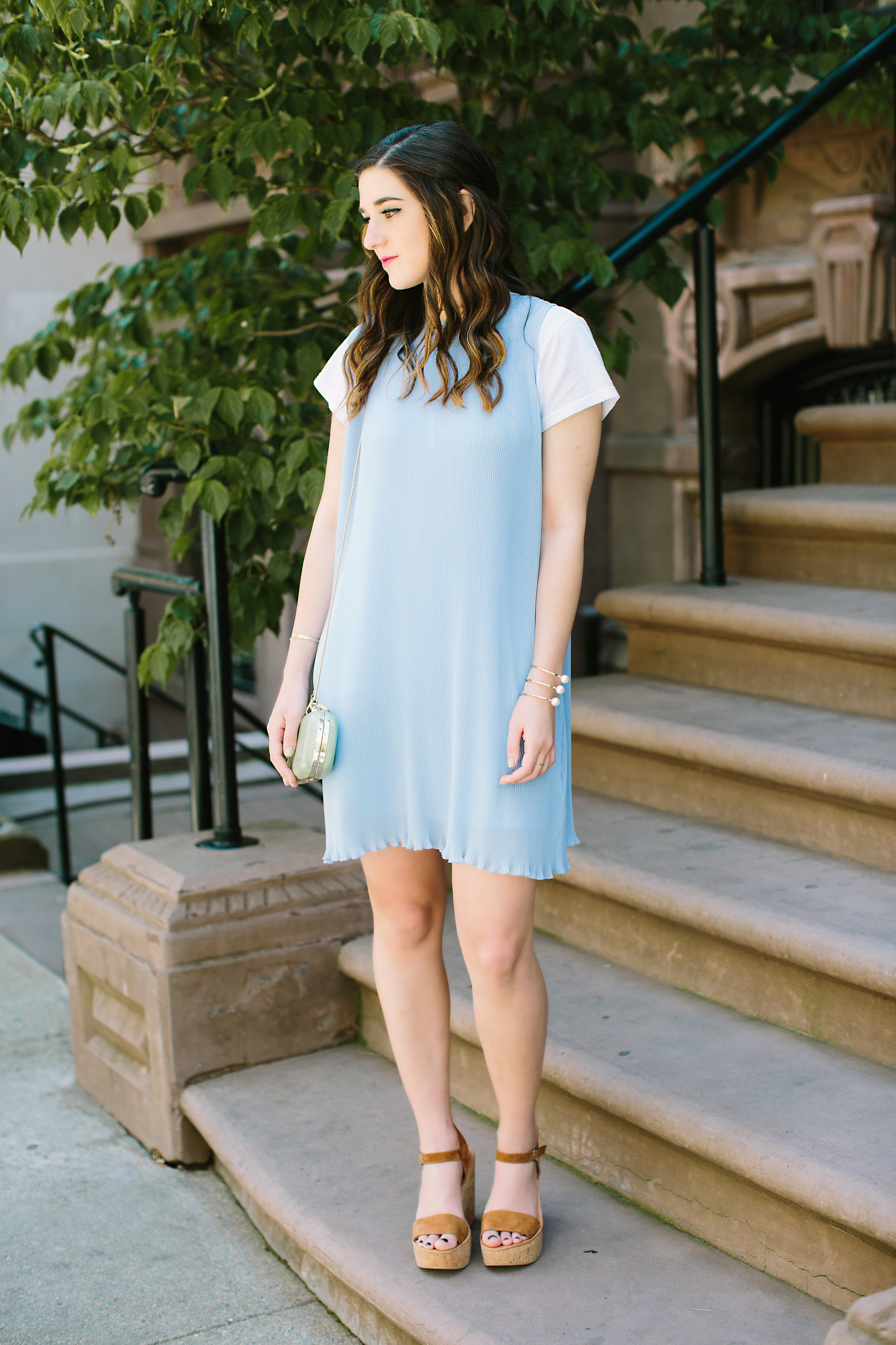 Pastel Blue Pleated Dress Keepsake The Label Louboutins & Love Fashion Blog Esther Santer NYC Street Style Blogger Outfit OOTD Pretty Photoshoot Upper East Side Dolce Vita Wedges Gold Jewelry Clutch Club Monaco Women White Tee Shirt Summer Look Inspo.jpg