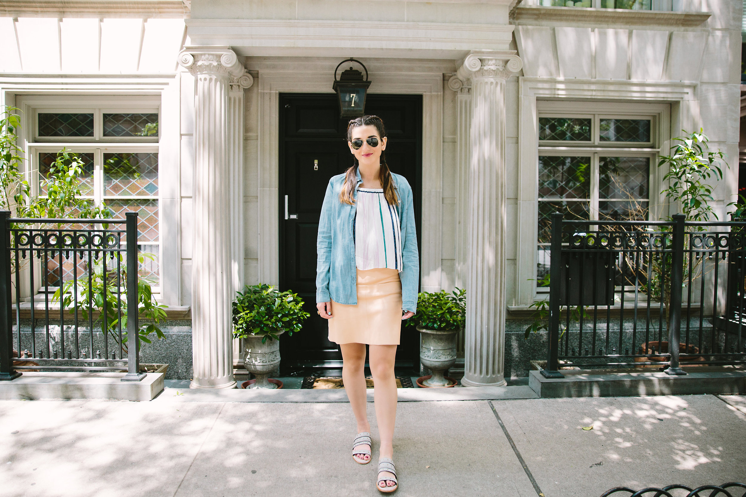 Stripes and Sandals M4D3 Shoes Louboutins & Love Fashion Blog Esther Santer NYC Street Style Blogger OOTD Outfit Shop Sunglasses RayBan Aviators Jean Shirt Pink Pleather Skirt New York City Photoshoot Summer Look Girl Women Pretty Braids Hair Inspo.jpg