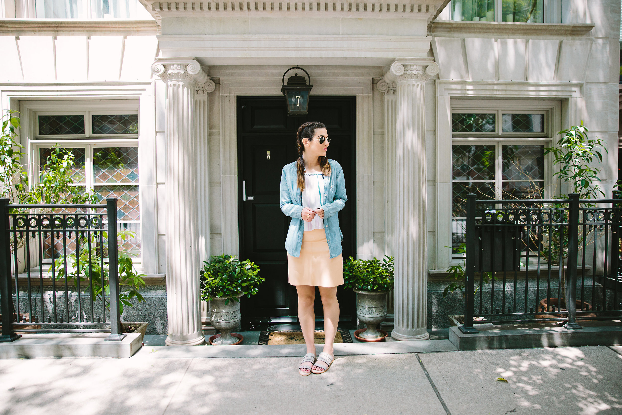 Stripes and Sandals M4D3 Shoes Louboutins & Love Fashion Blog Esther Santer NYC Street Style Blogger OOTD Outfit Shop Sunglasses RayBan Aviators Jean Shirt Pink Pleather Skirt New York City Photoshoot Summer Look Girl Women Pretty Hair Inspo Braids.jpg