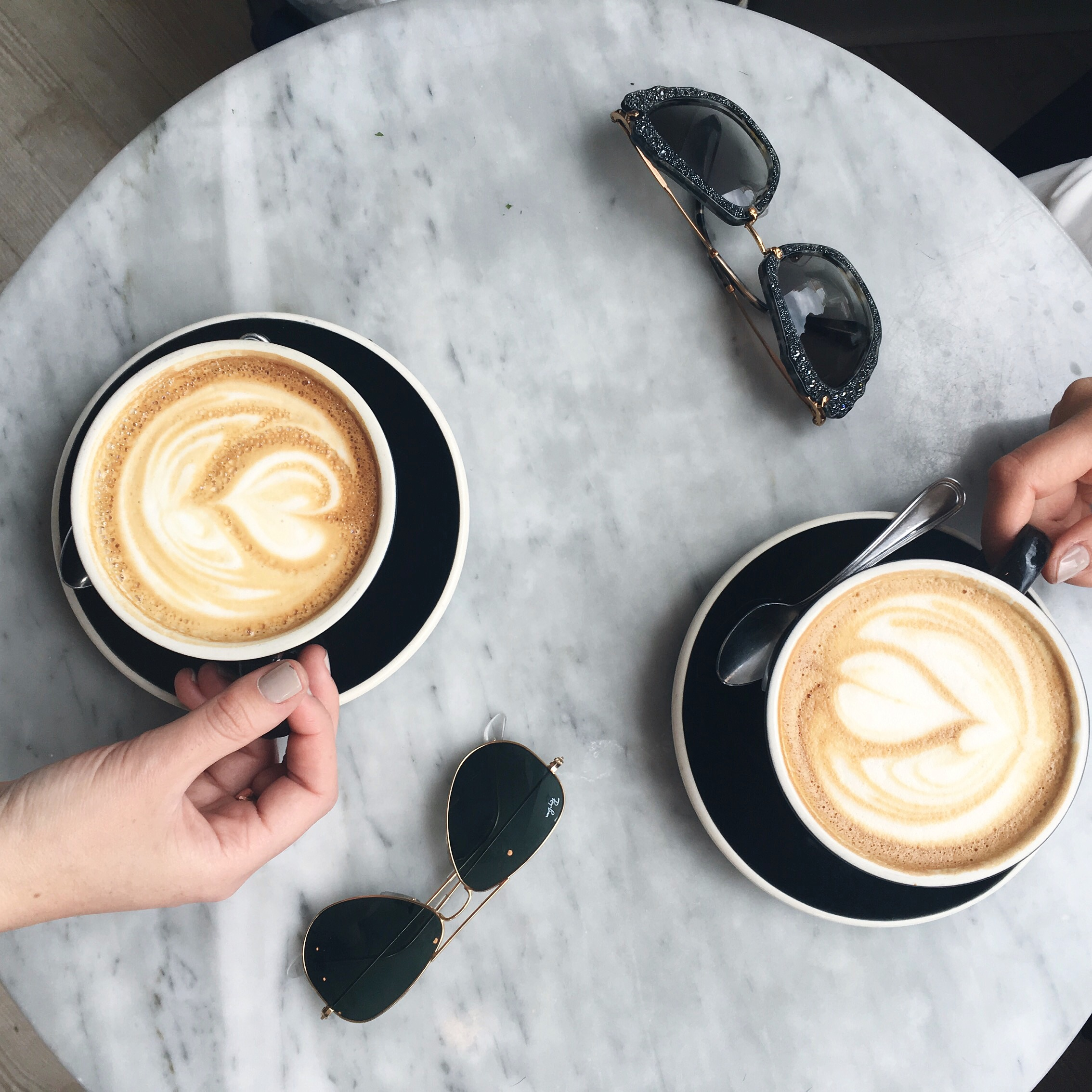 Coffee Talk The 6 Reasons Brands Aren't Reaching Out Louboutins & Love Fashion Blog Esther Santer NYC Street Style Blogger Chalait New York City Latte Art Girls Women Pretty Photography Marble Table Sunglasses Ray-Ban Shop Trend Flatlay Instagram Tips.JPG