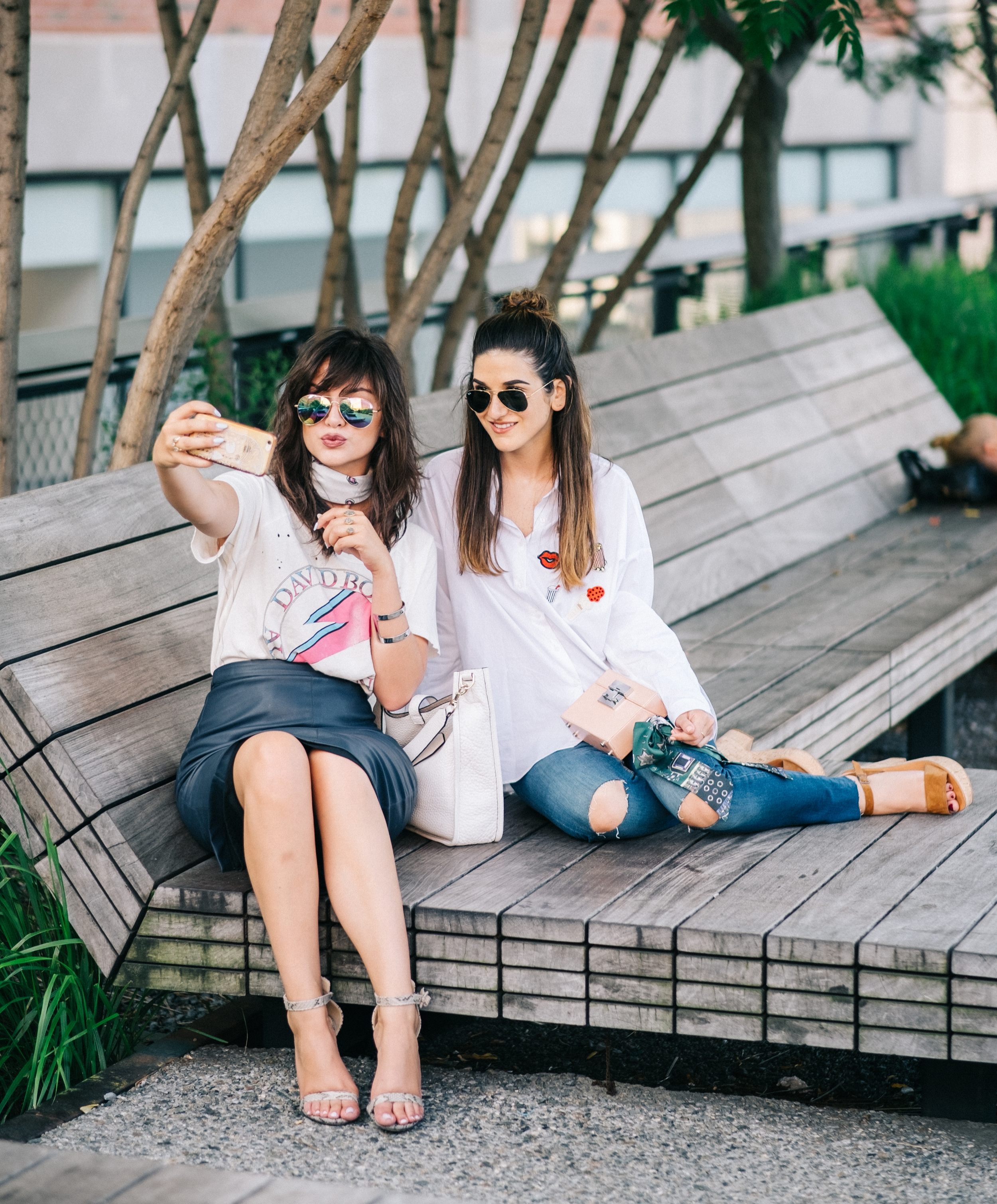 Photoshoot Collab With Lexicon Of Style How To Make Blogger Friends Louboutins & Love Fashion Blog Esther Santer NYC Street Style Blogger Outfit OOTD Trendy Oversized White Dress Shirt Patches Ripped Denim Jeans Scarf Heels Wedges Zara Sunglasses Bag.jpg