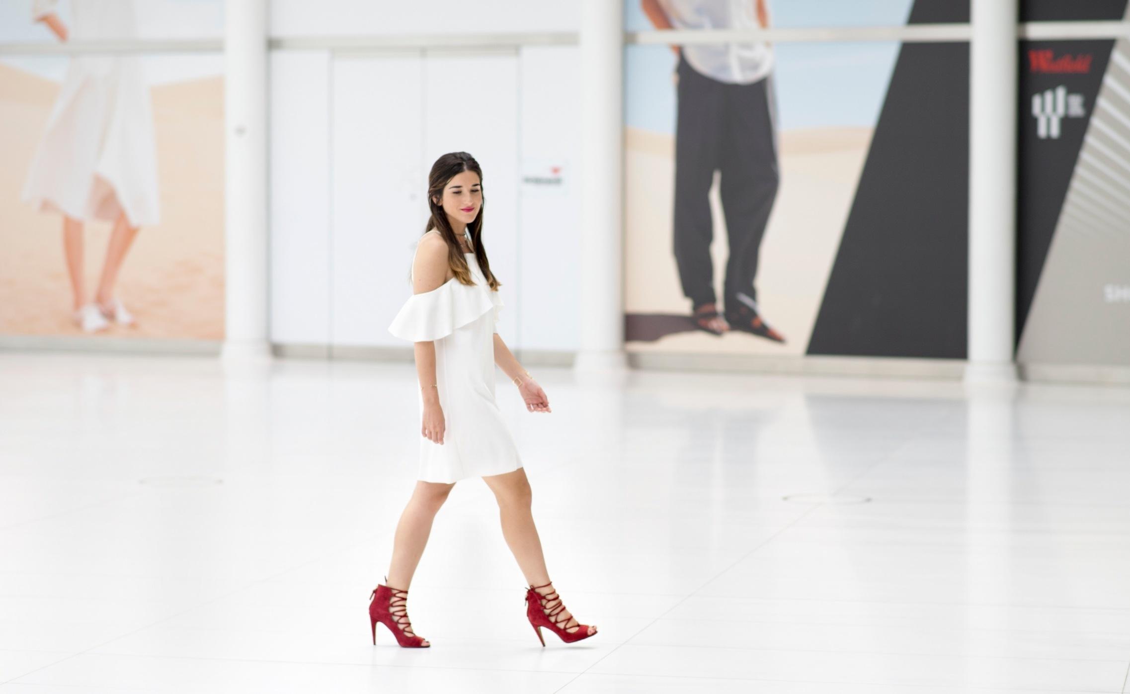 37b0abafad9 Cold Shoulder White Dress + Red Heels — Esther Santer