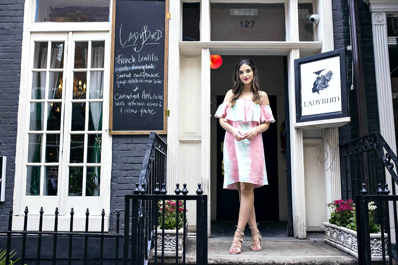 Pastel Tie-Dye Dress Shop Trescool Louboutins & Love Fashion Blog Esther Santer NYC Street Style Blogger Outfit OOTD Trendy Cold Shoulders Blue Black Women Girl Curly Hair Brown Green Pink Red Lip Makeup Heels Lace Up Gray Lady Fashion Bracelet Choker.jpg