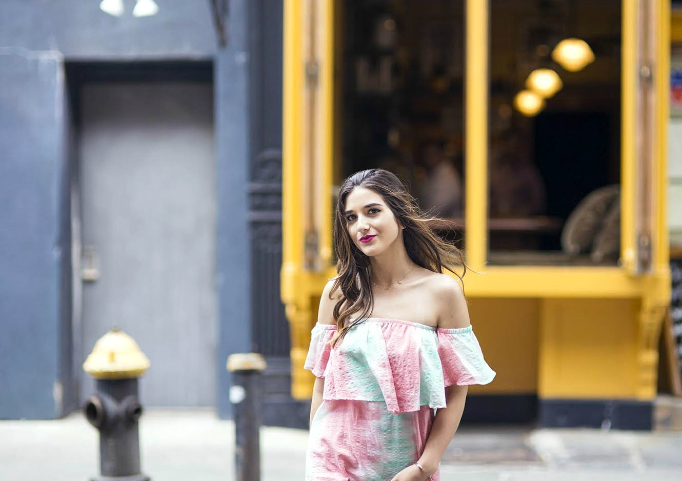 Pastel Tie-Dye Dress Shop Trescool Louboutins & Love Fashion Blog Esther Santer NYC Street Style Blogger Outfit OOTD Trendy Cold Shoulders Blue Black Women Girl Hair Curly Brown Green Pink Red Lip Makeup Lace Up Heels Gray Lady Fashion Bracelet Choker.jpg